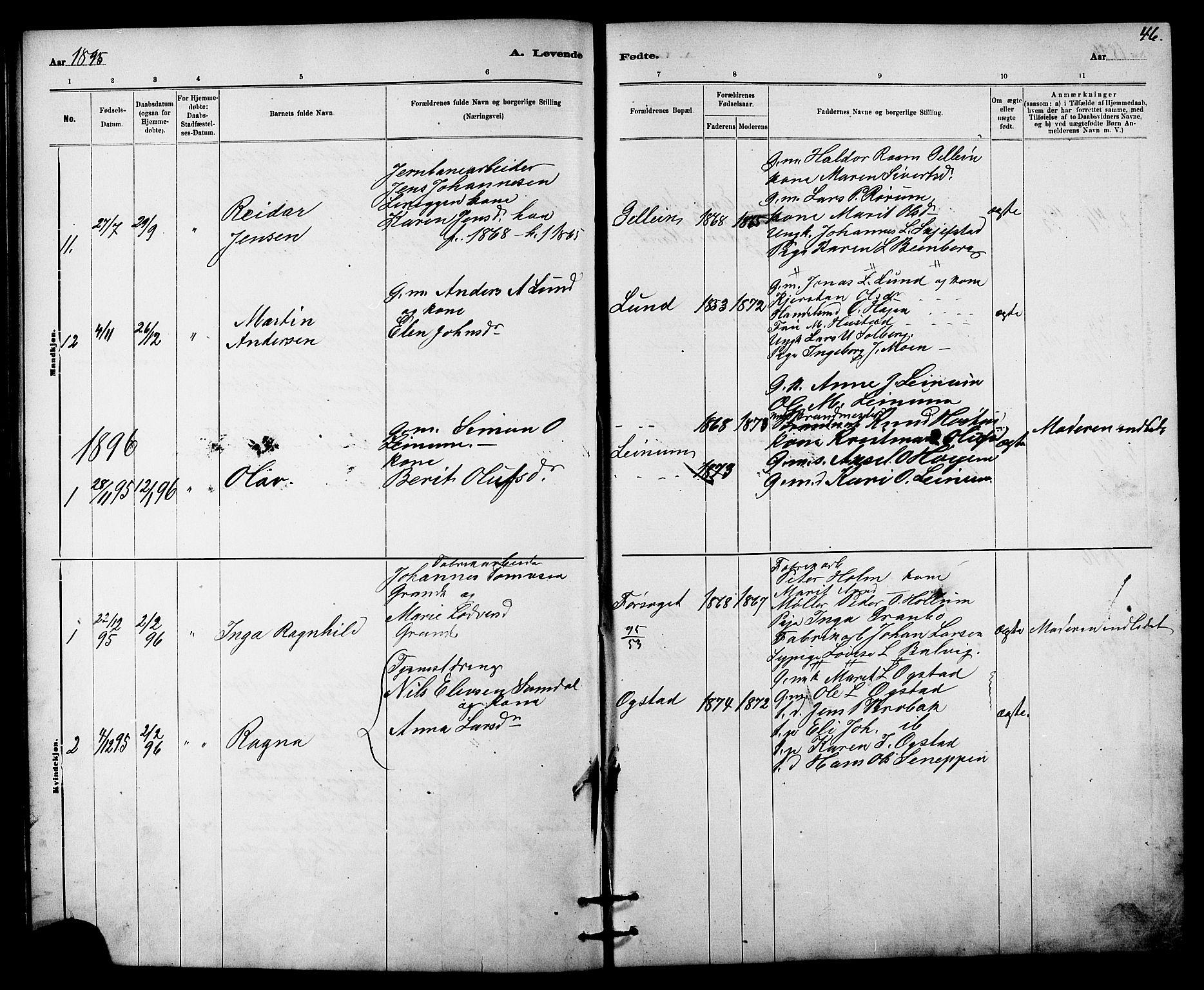 SAT, Ministerialprotokoller, klokkerbøker og fødselsregistre - Sør-Trøndelag, 613/L0395: Klokkerbok nr. 613C03, 1887-1909, s. 46