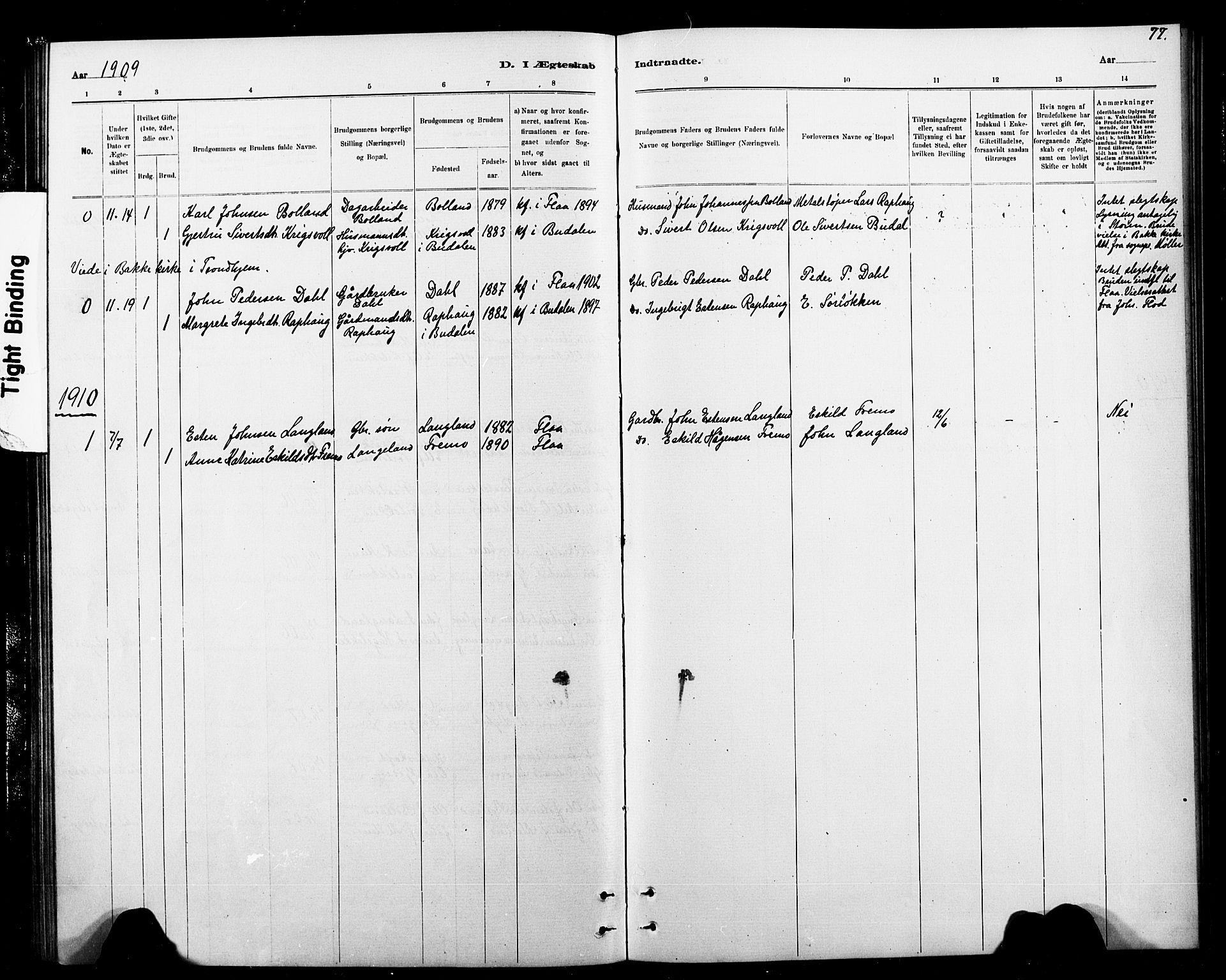 SAT, Ministerialprotokoller, klokkerbøker og fødselsregistre - Sør-Trøndelag, 693/L1123: Klokkerbok nr. 693C04, 1887-1910, s. 77