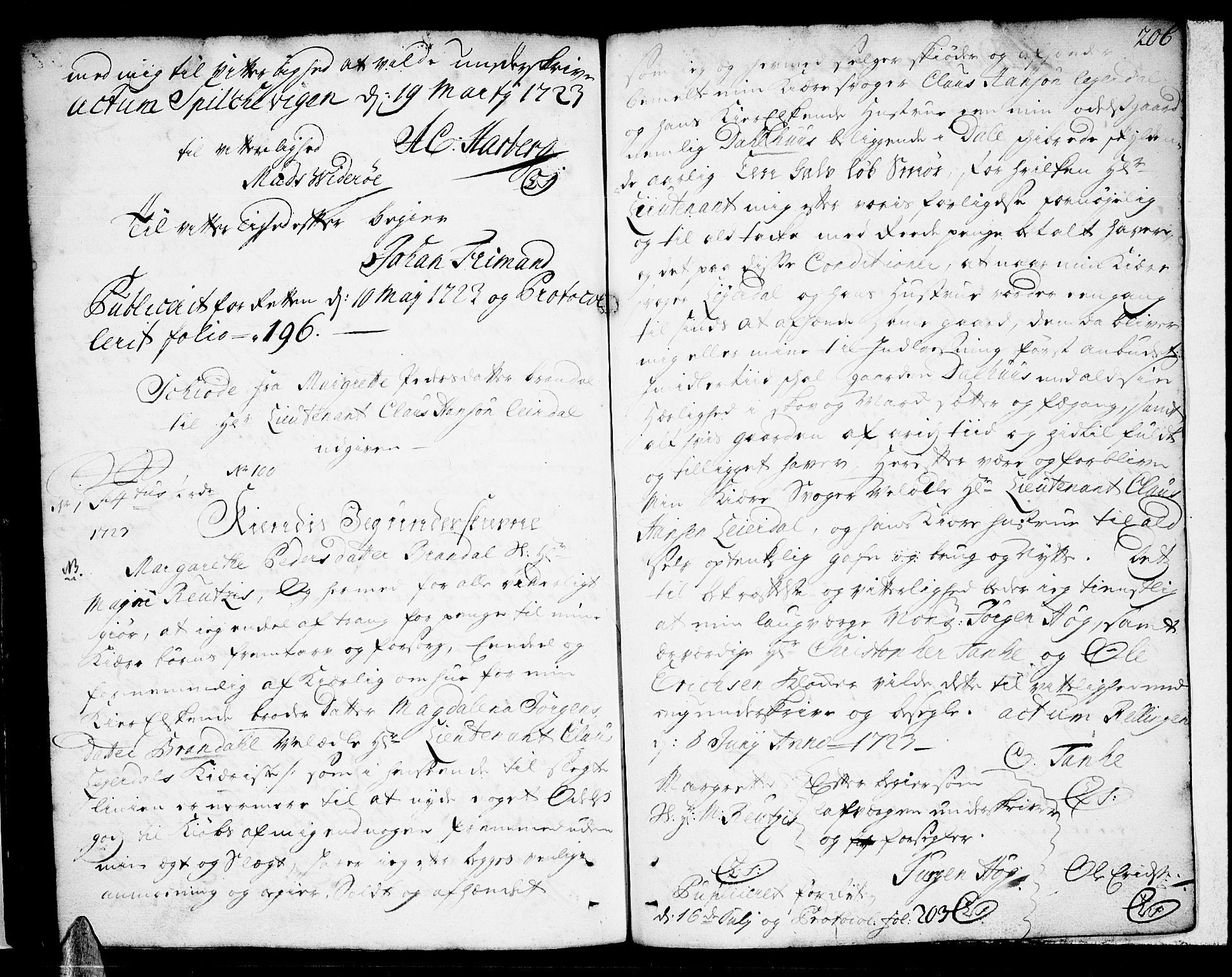 SAT, Sunnmøre sorenskriveri, 2/2C/L0001: Pantebok nr. 1, 1707-1724, s. 206