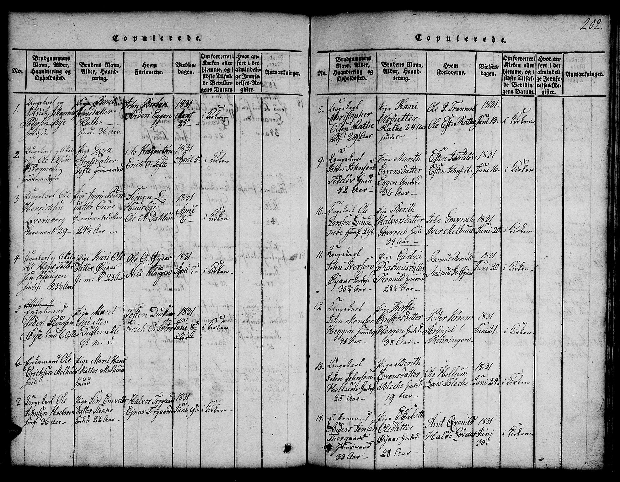 SAT, Ministerialprotokoller, klokkerbøker og fødselsregistre - Sør-Trøndelag, 691/L1092: Klokkerbok nr. 691C03, 1816-1852, s. 202