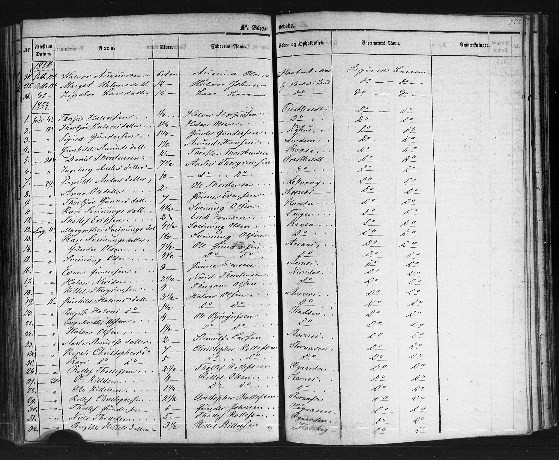 SAKO, Sauherad kirkebøker, F/Fb/L0001: Ministerialbok nr. II 1, 1851-1877, s. 222