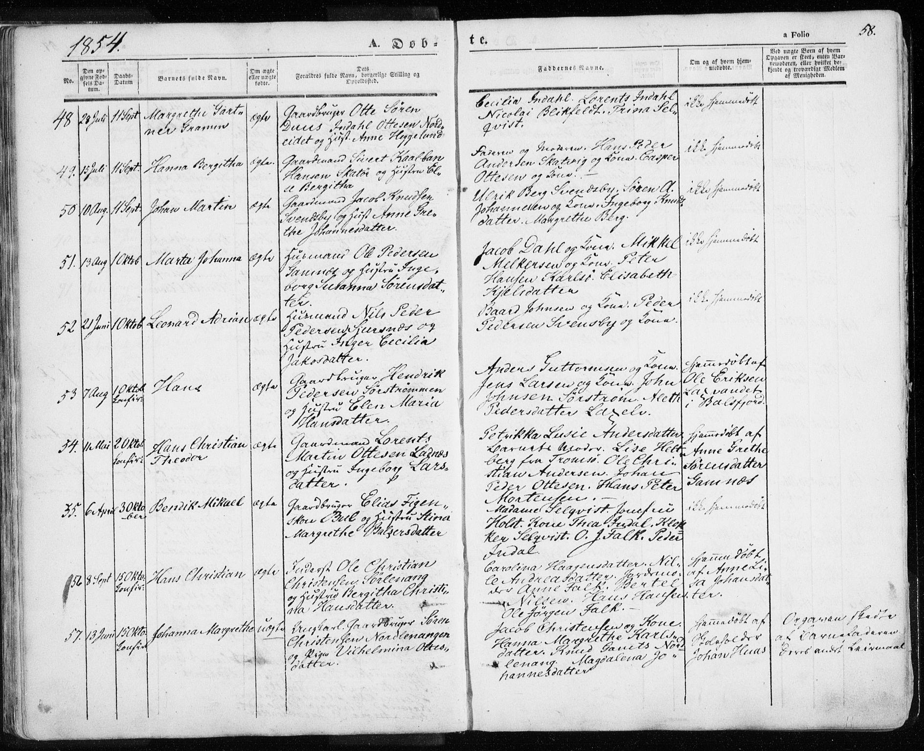 SATØ, Karlsøy sokneprestembete, H/Ha/Haa/L0003kirke: Ministerialbok nr. 3, 1843-1860, s. 58