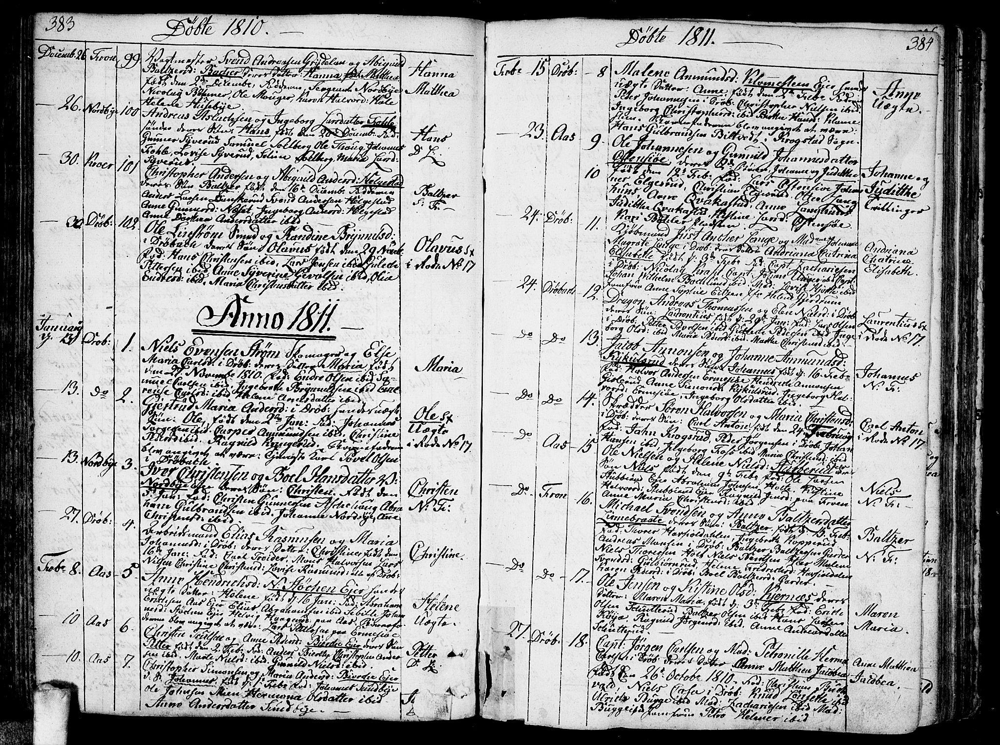SAO, Ås prestekontor Kirkebøker, F/Fa/L0002: Ministerialbok nr. I 2, 1778-1813, s. 383-384