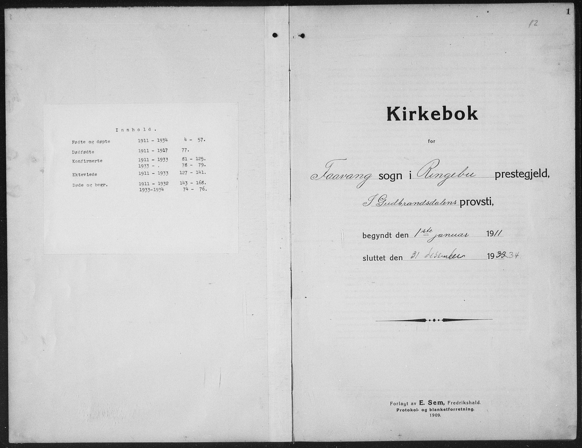 SAH, Ringebu prestekontor, Klokkerbok nr. 10, 1911-1934, s. 1