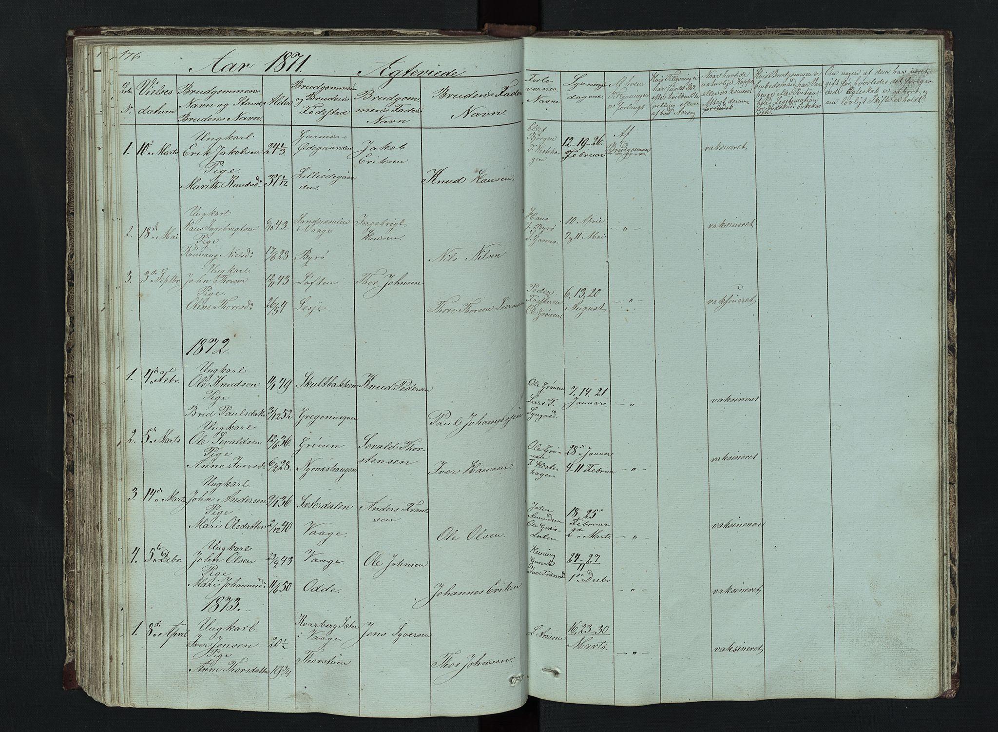 SAH, Lom prestekontor, L/L0014: Klokkerbok nr. 14, 1845-1876, s. 176-177