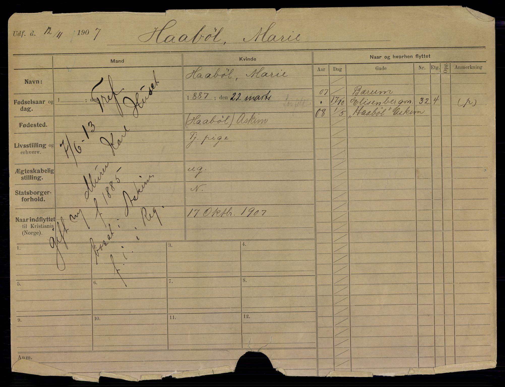 SAO, Oslo folkeregister, Registerkort, K/Kb/L0017: H - L, 1913
