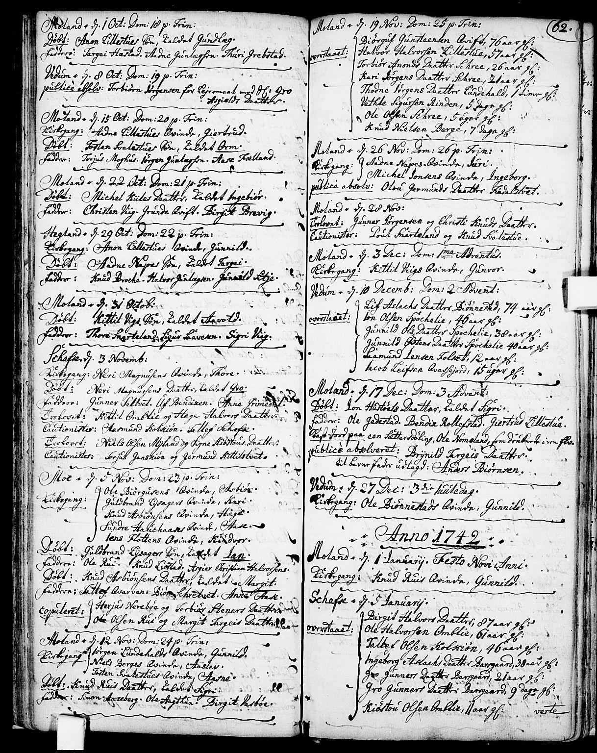 SAKO, Fyresdal kirkebøker, F/Fa/L0001: Ministerialbok nr. I 1, 1724-1748, s. 62