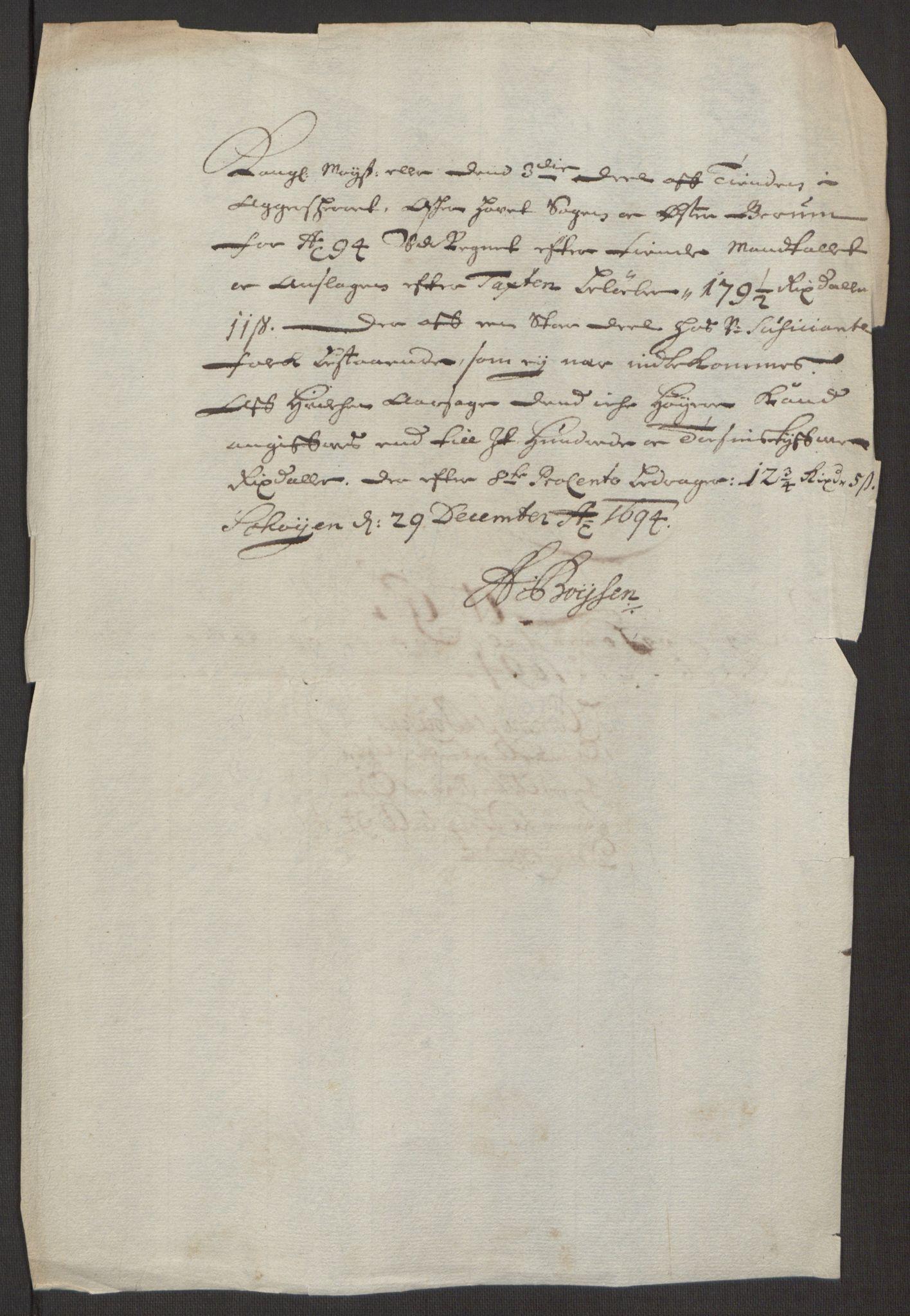 RA, Rentekammeret inntil 1814, Reviderte regnskaper, Fogderegnskap, R10/L0438: Fogderegnskap Aker og Follo, 1694, s. 133