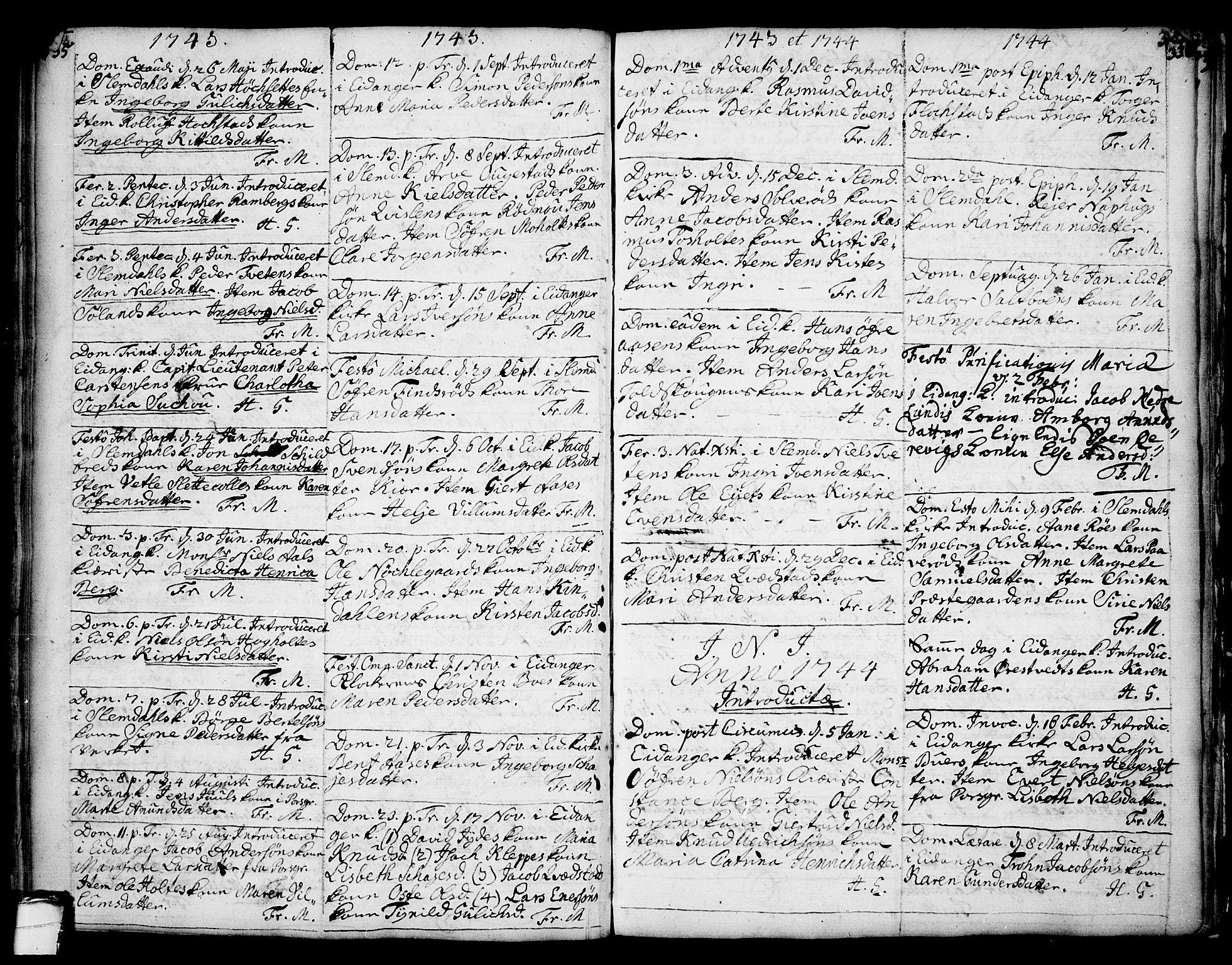 SAKO, Eidanger kirkebøker, F/Fa/L0004: Ministerialbok nr. 4, 1733-1759, s. 335-336