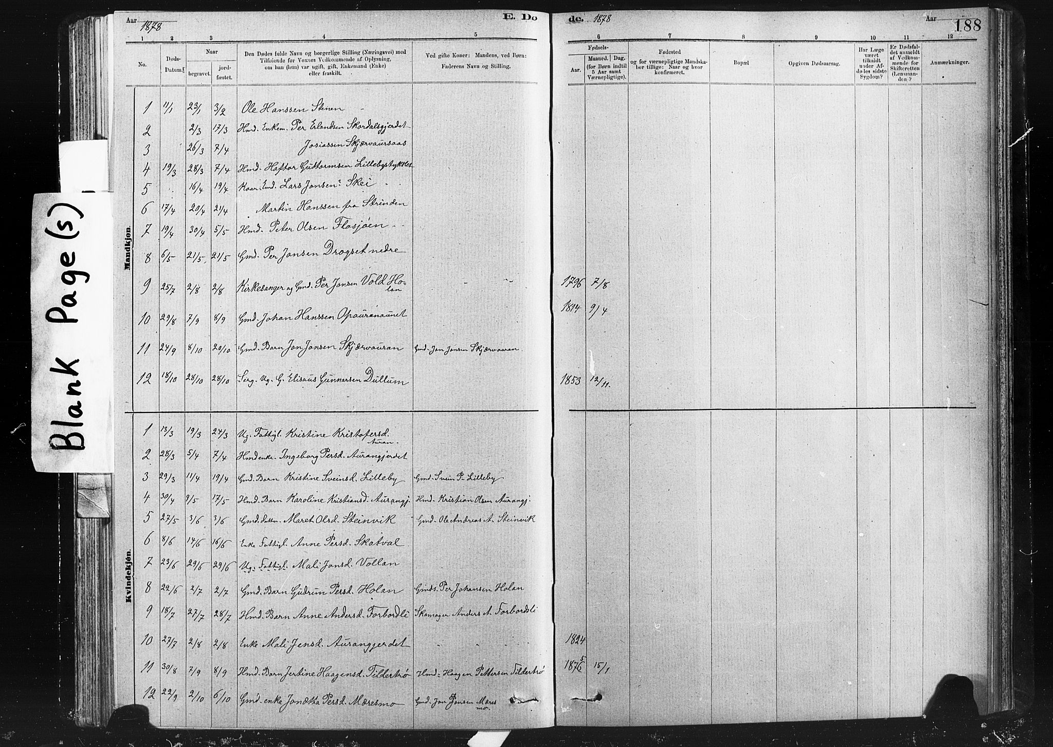 SAT, Ministerialprotokoller, klokkerbøker og fødselsregistre - Nord-Trøndelag, 712/L0103: Klokkerbok nr. 712C01, 1878-1917, s. 188
