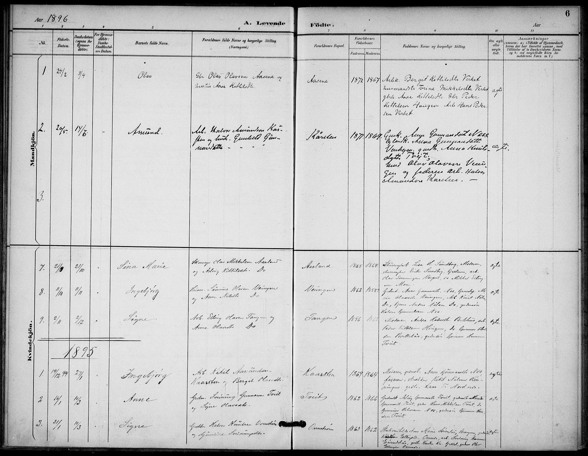 SAKO, Lunde kirkebøker, F/Fb/L0004: Ministerialbok nr. II 4, 1892-1907, s. 6