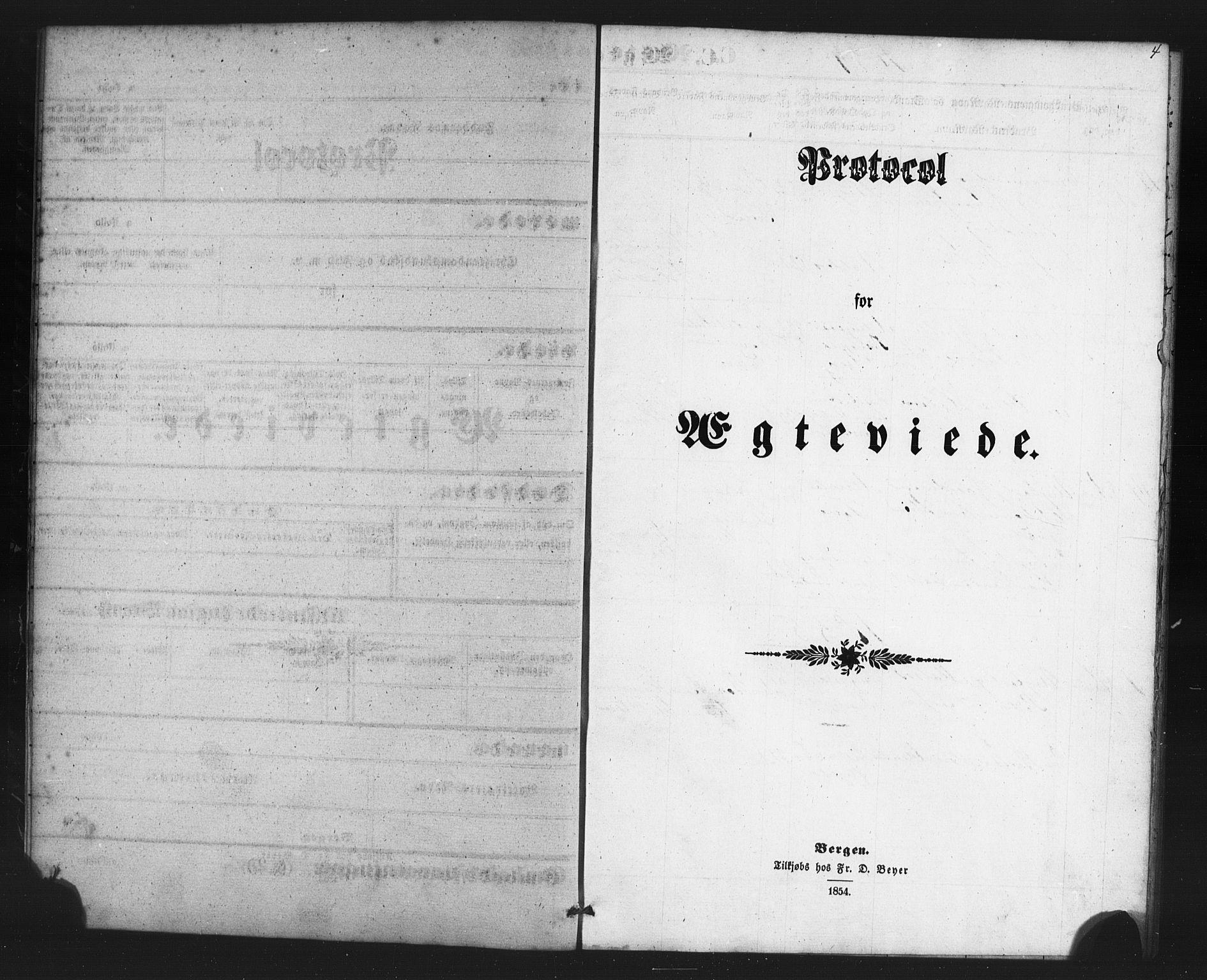 SAB, St. Jørgens hospital og Årstad sokneprestembete, Klokkerbok nr. A 7, 1854-1886, s. 4
