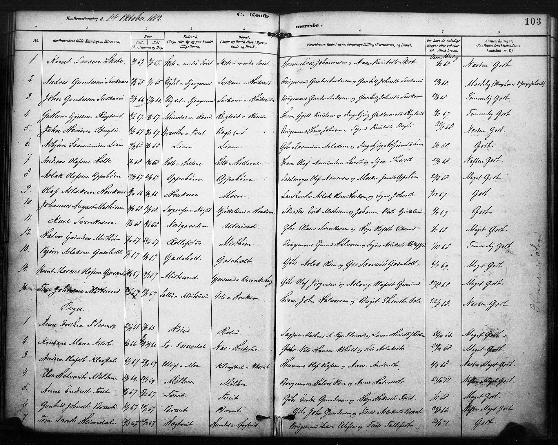 SAKO, Kviteseid kirkebøker, F/Fa/L0008: Ministerialbok nr. I 8, 1882-1903, s. 103