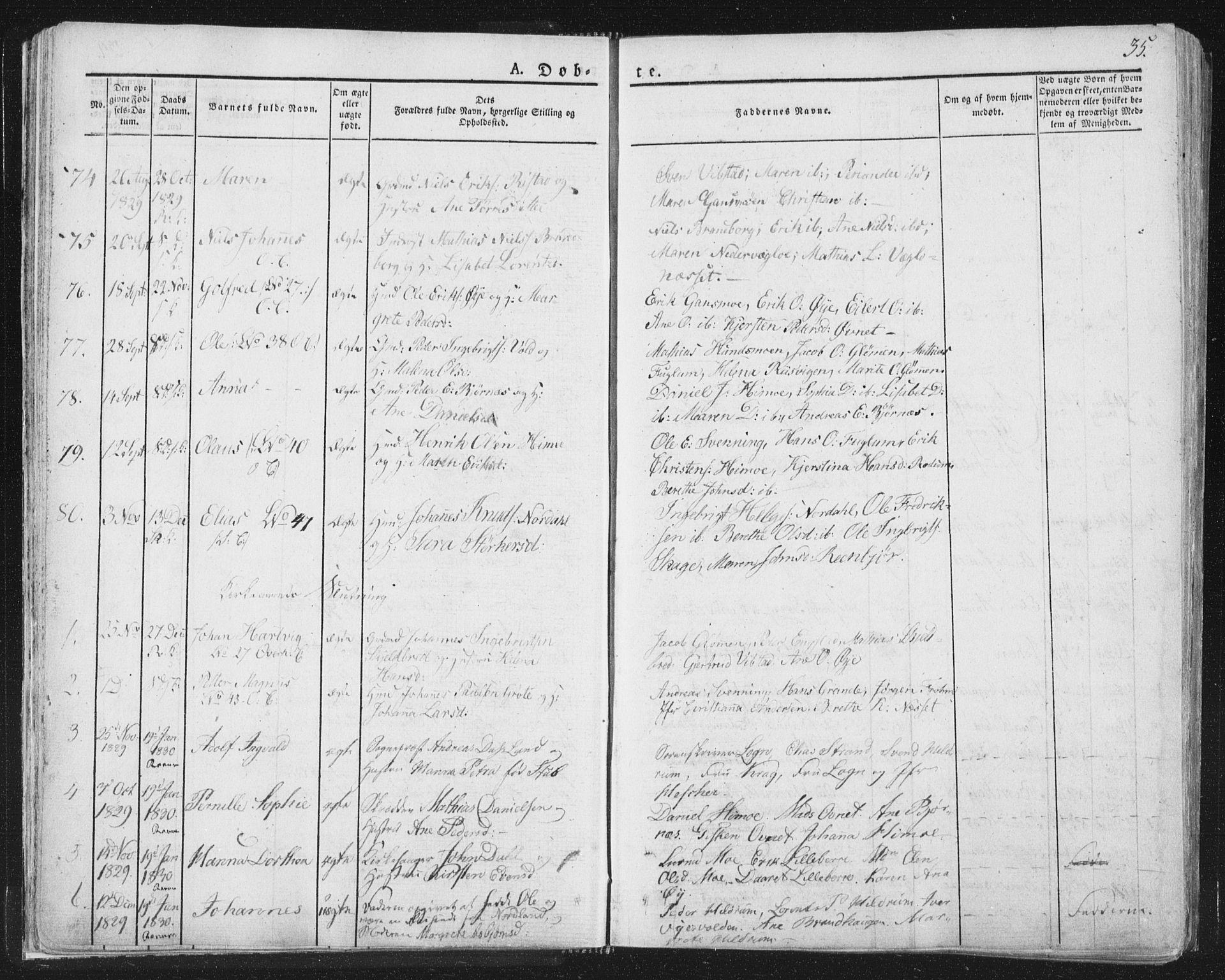 SAT, Ministerialprotokoller, klokkerbøker og fødselsregistre - Nord-Trøndelag, 764/L0551: Ministerialbok nr. 764A07a, 1824-1864, s. 35