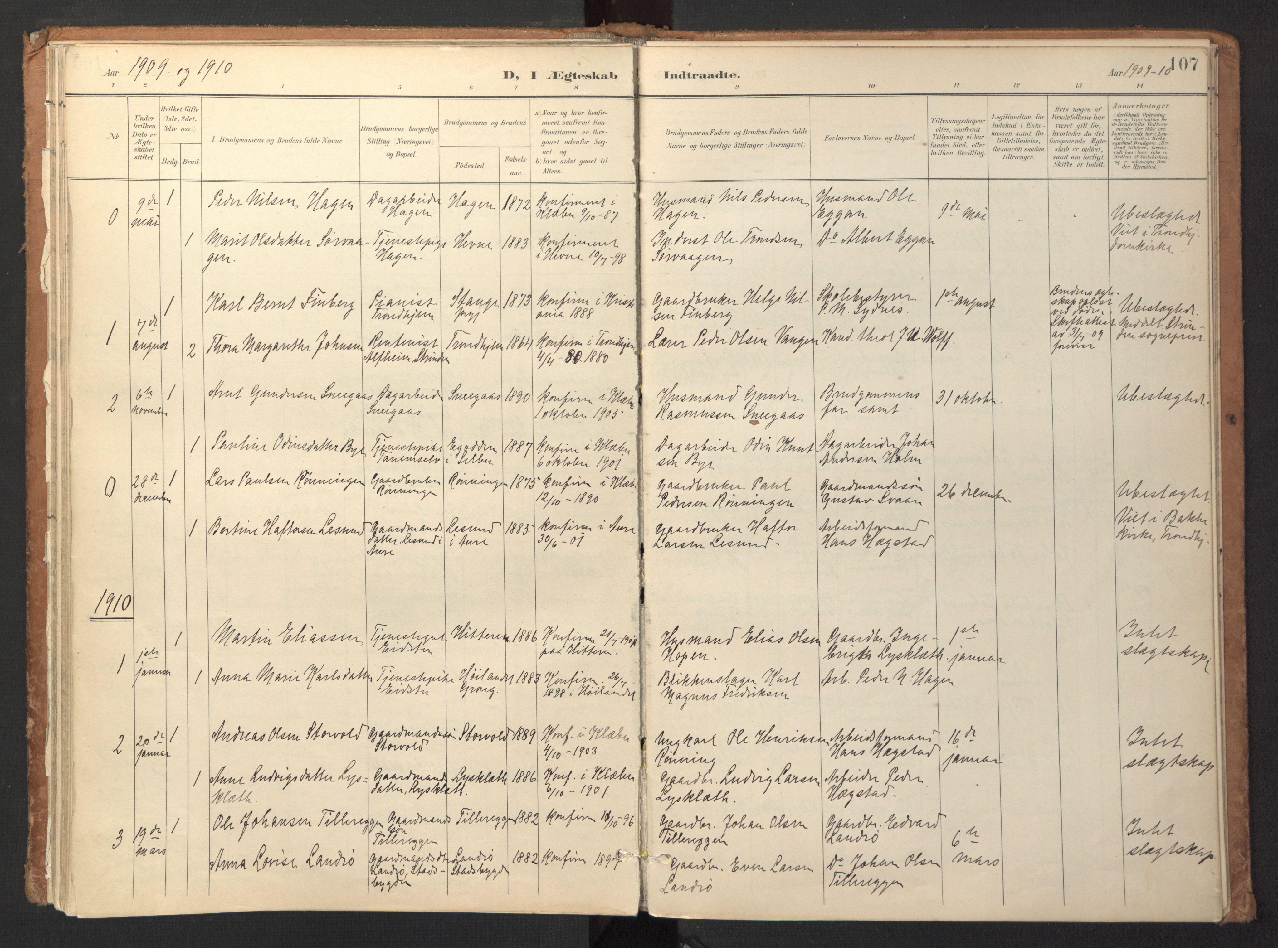 SAT, Ministerialprotokoller, klokkerbøker og fødselsregistre - Sør-Trøndelag, 618/L0448: Ministerialbok nr. 618A11, 1898-1916, s. 107