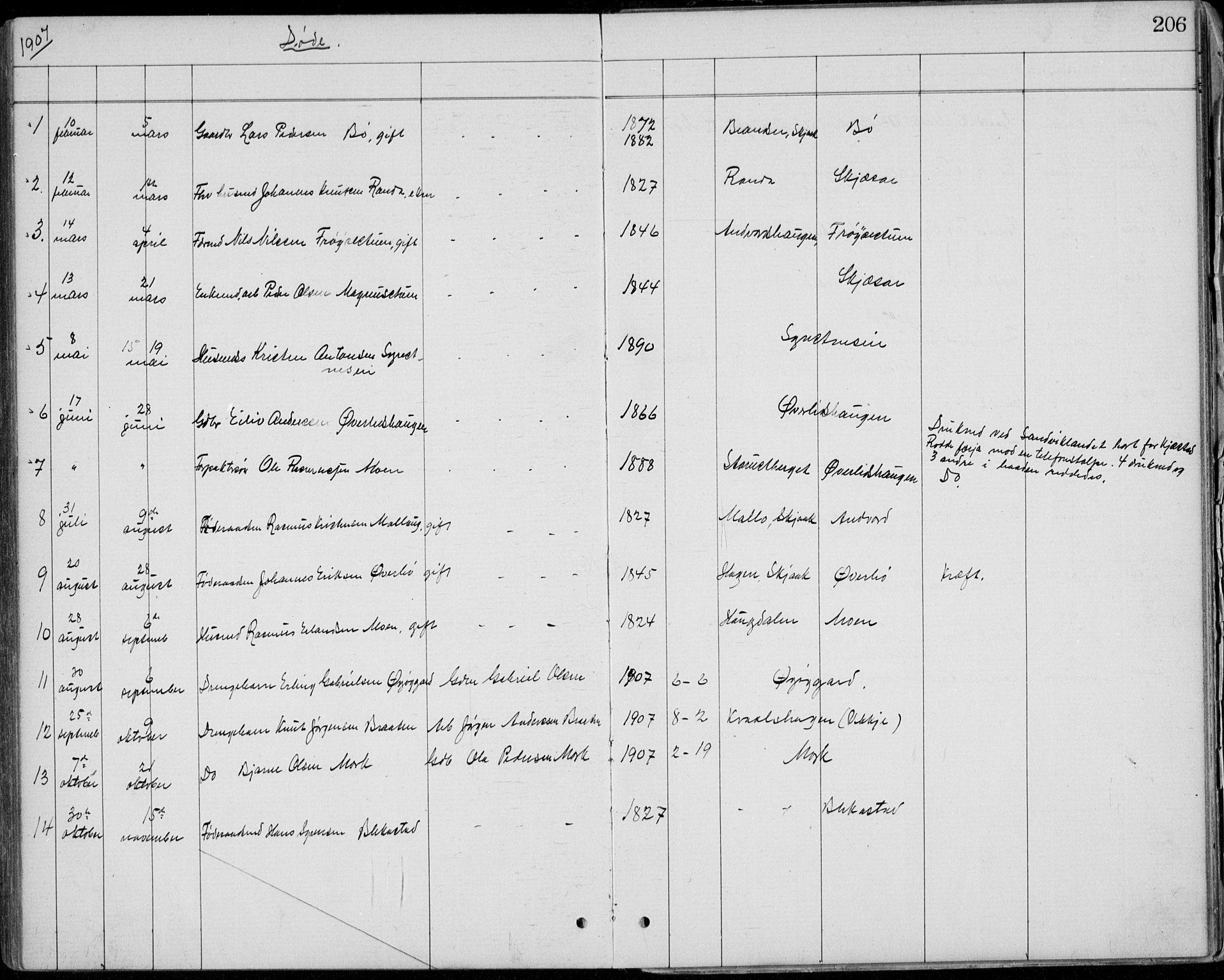 SAH, Lom prestekontor, L/L0013: Klokkerbok nr. 13, 1874-1938, s. 206