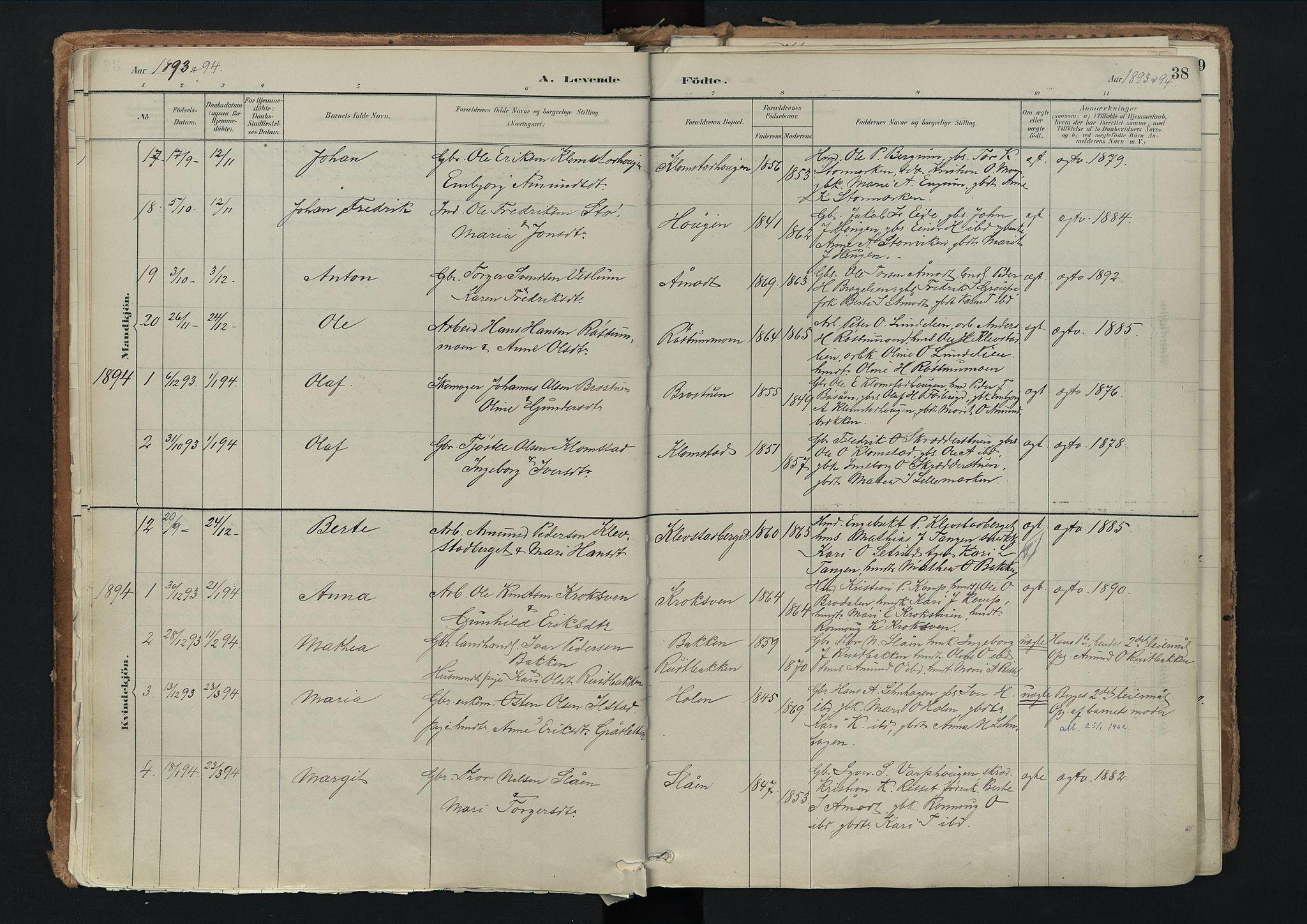 SAH, Nord-Fron prestekontor, Ministerialbok nr. 3, 1884-1914, s. 38