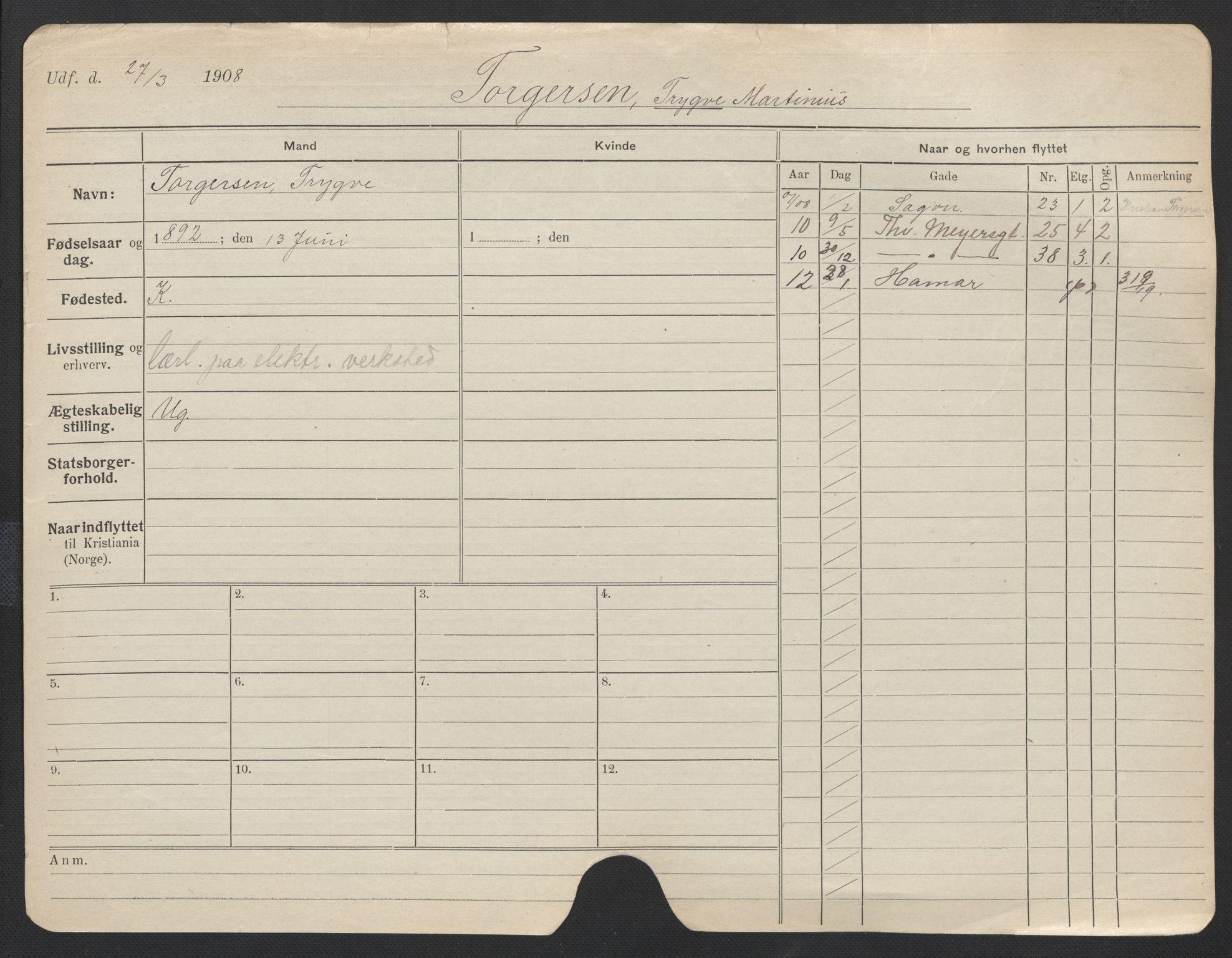 SAO, Oslo folkeregister, Registerkort, F/Fa/Fac/L0011: Menn, 1906-1914, s. 251a