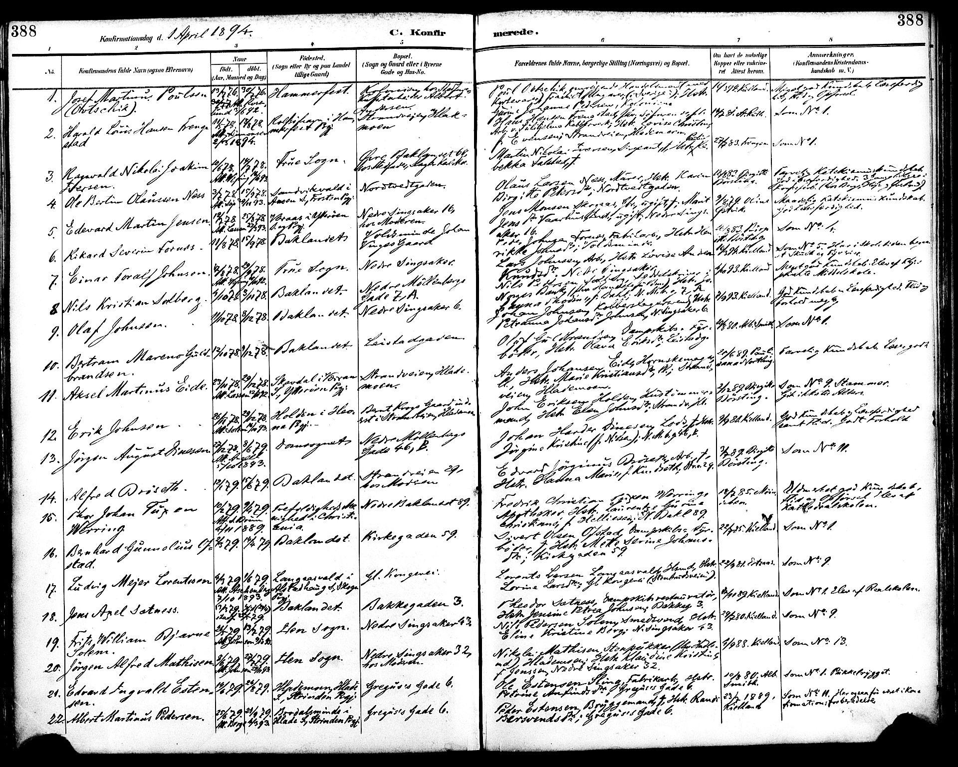 SAT, Ministerialprotokoller, klokkerbøker og fødselsregistre - Sør-Trøndelag, 604/L0197: Ministerialbok nr. 604A18, 1893-1900, s. 388