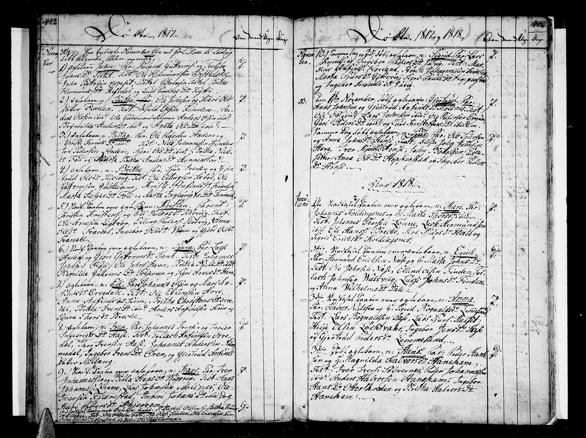 SAB, Vik Sokneprestembete, Ministerialbok nr. A 5, 1787-1820, s. 442-443