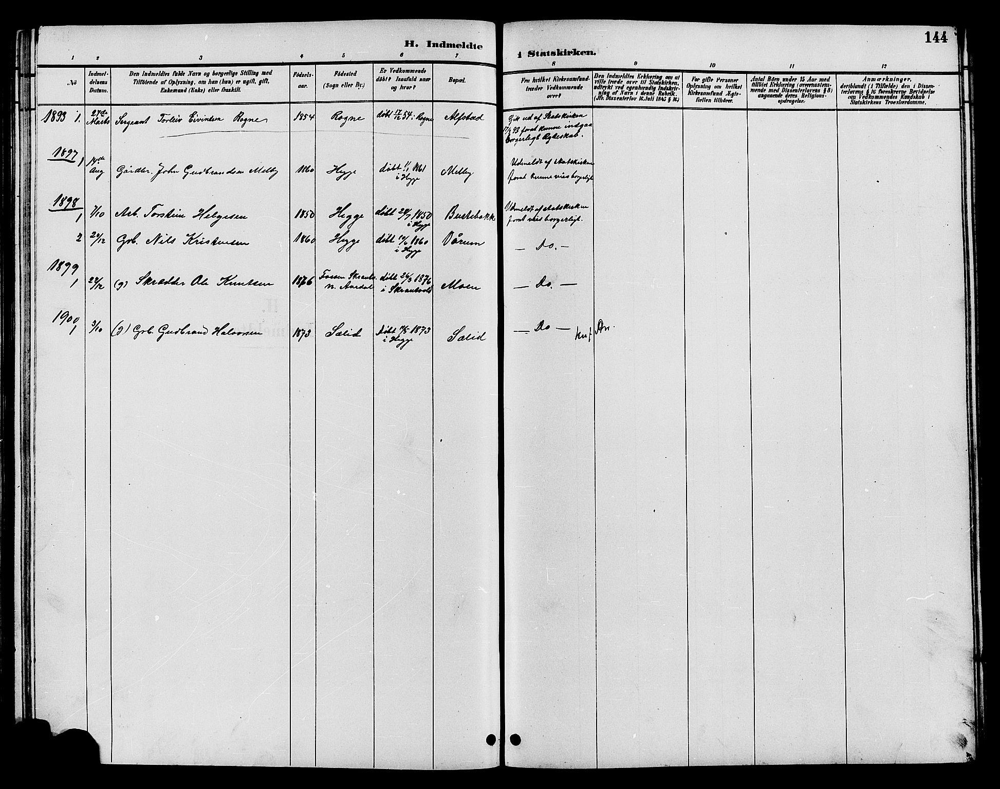 SAH, Øystre Slidre prestekontor, Klokkerbok nr. 4, 1887-1907, s. 144