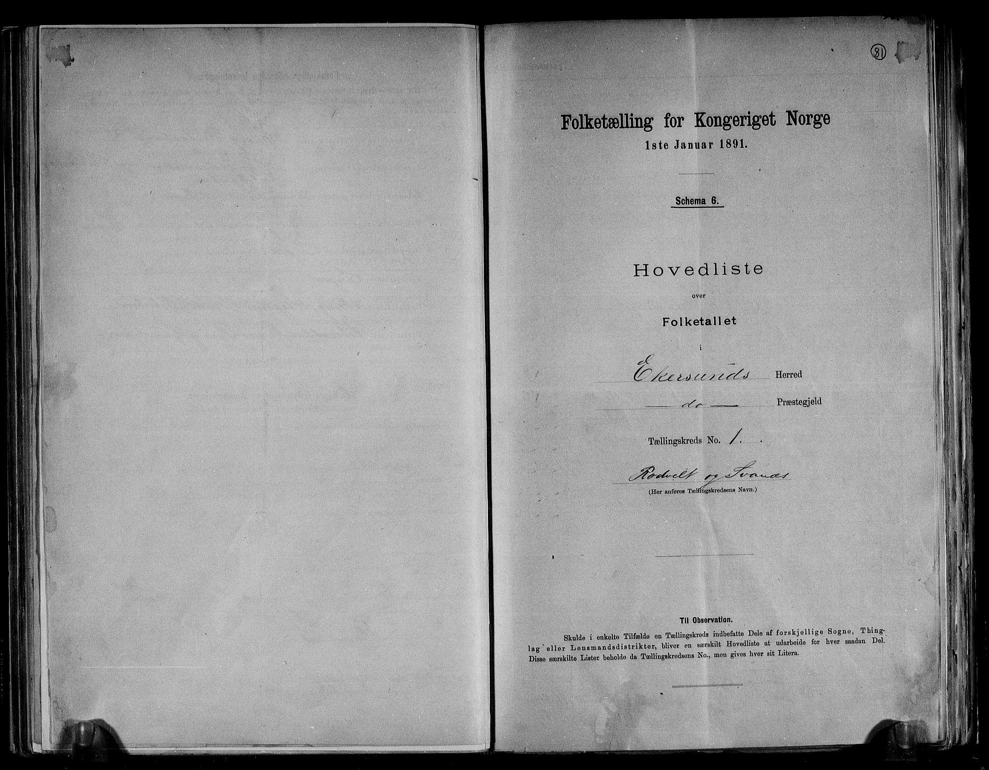RA, Folketelling 1891 for 1116 Eigersund herred, 1891, s. 4