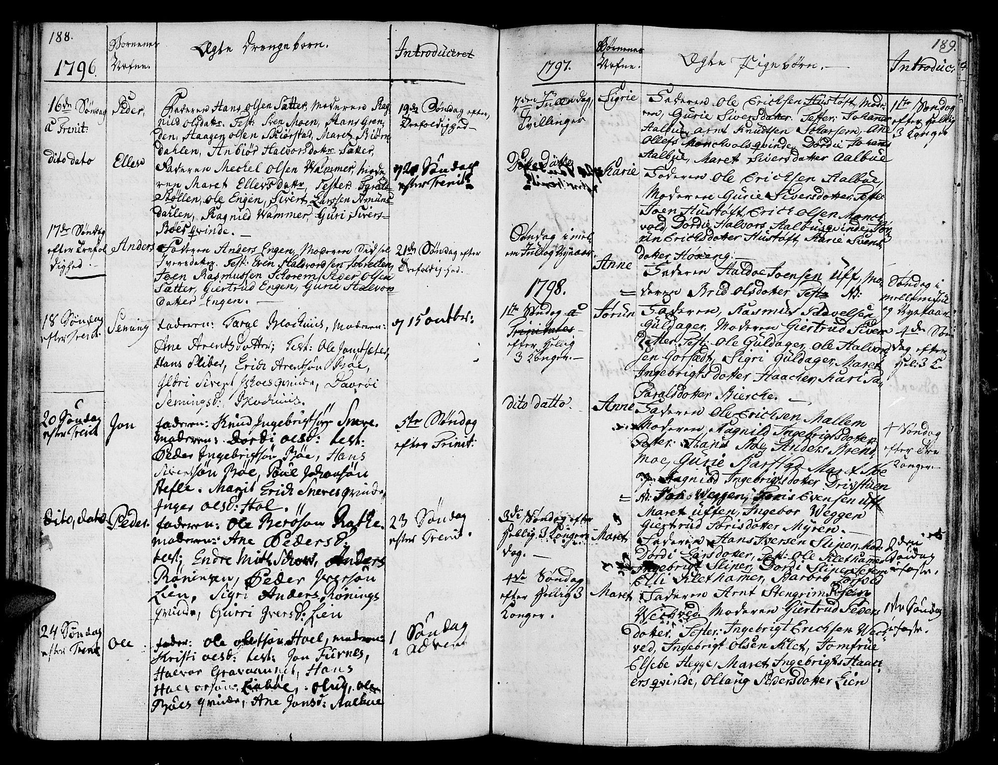 SAT, Ministerialprotokoller, klokkerbøker og fødselsregistre - Sør-Trøndelag, 678/L0893: Ministerialbok nr. 678A03, 1792-1805, s. 188-189