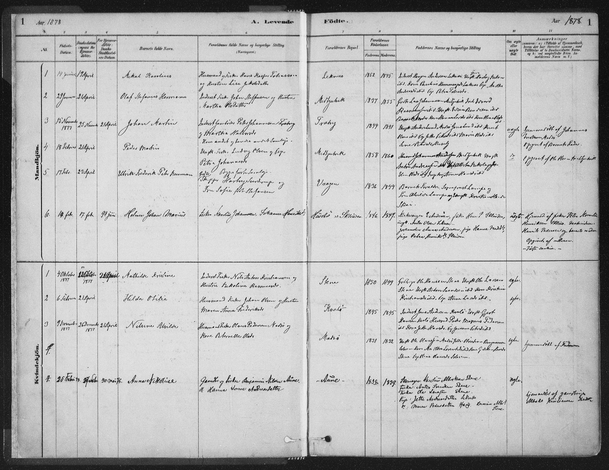 SAT, Ministerialprotokoller, klokkerbøker og fødselsregistre - Nord-Trøndelag, 788/L0697: Ministerialbok nr. 788A04, 1878-1902, s. 1