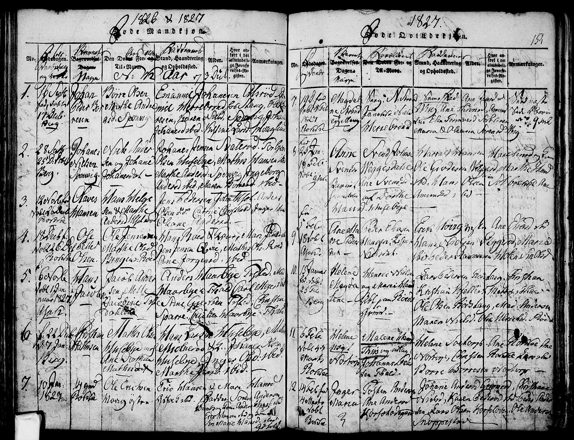 SAO, Berg prestekontor Kirkebøker, F/Fa/L0002: Ministerialbok nr. I 2, 1815-1831, s. 154