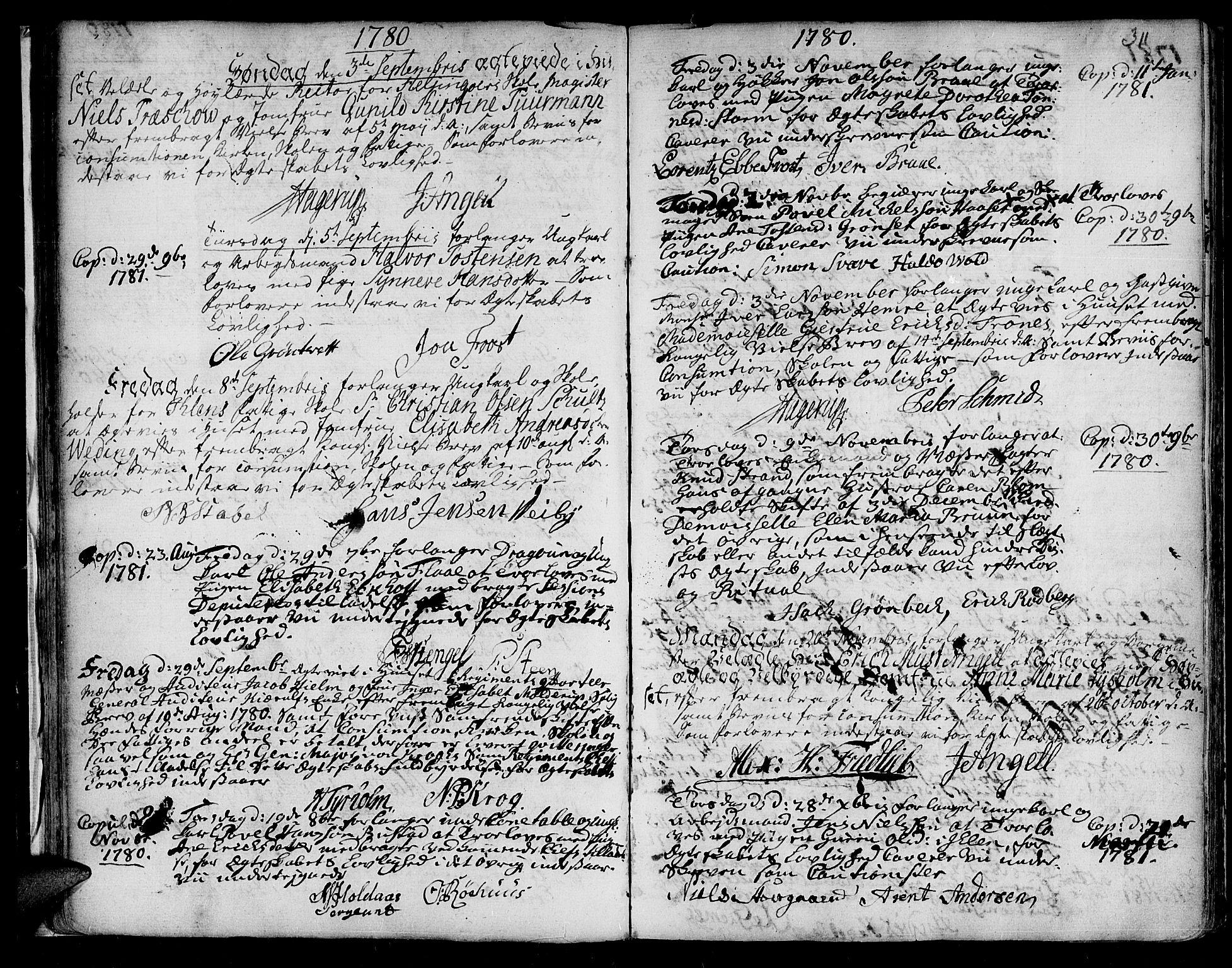 SAT, Ministerialprotokoller, klokkerbøker og fødselsregistre - Sør-Trøndelag, 601/L0038: Ministerialbok nr. 601A06, 1766-1877, s. 311