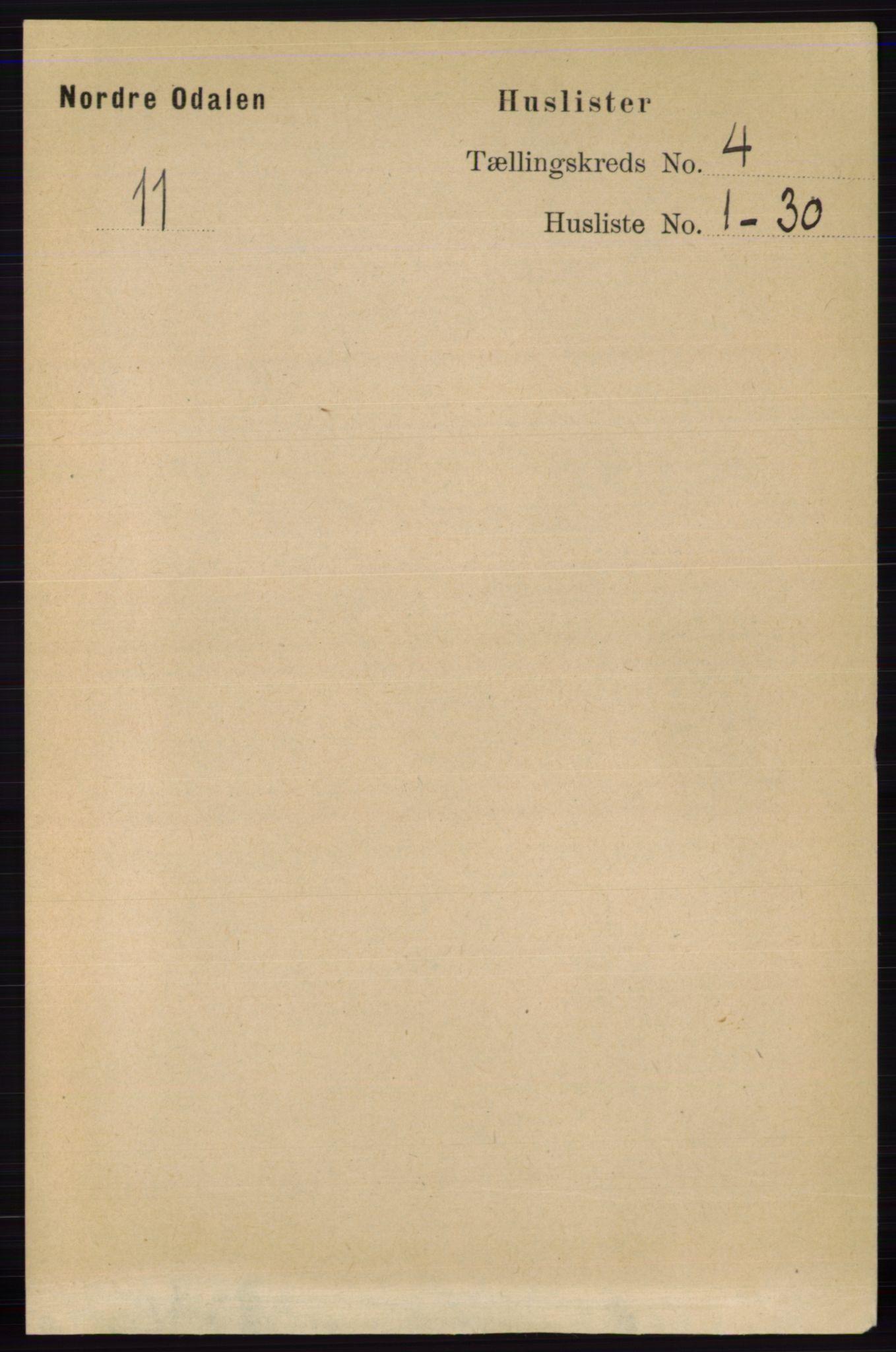 RA, Folketelling 1891 for 0418 Nord-Odal herred, 1891, s. 1229