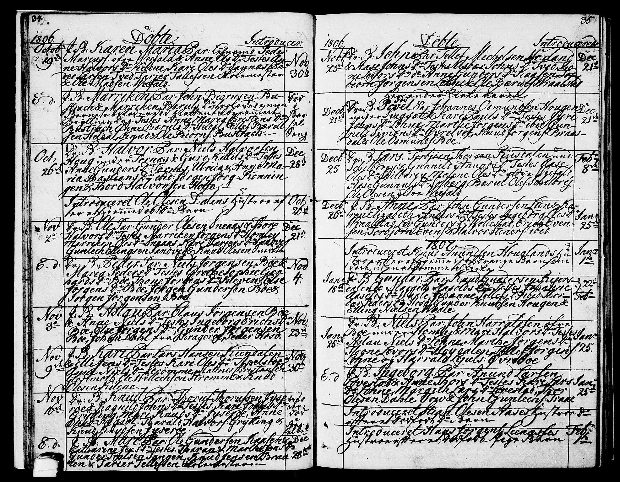 SAKO, Drangedal kirkebøker, F/Fa/L0004: Ministerialbok nr. 4, 1802-1814, s. 34-35
