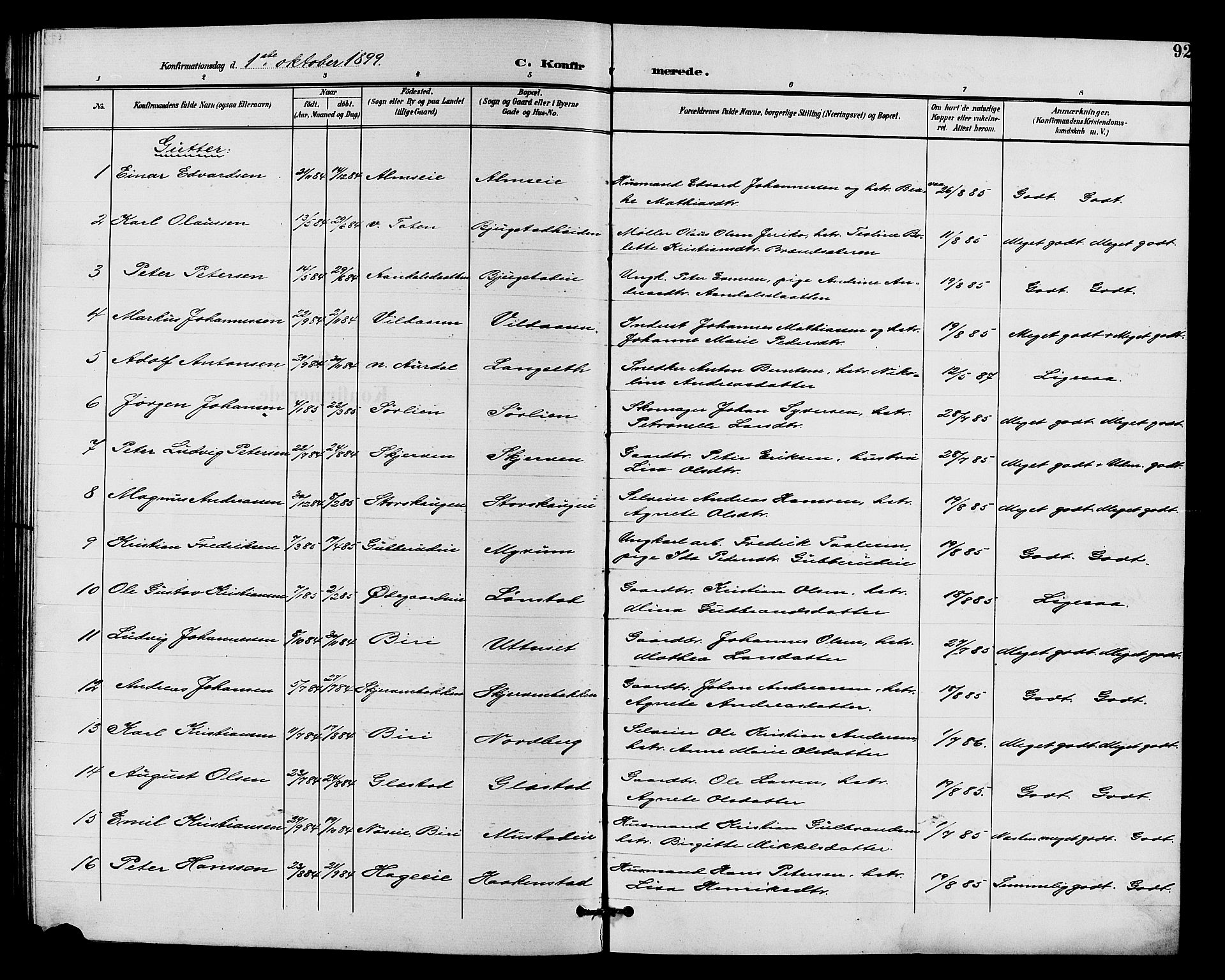SAH, Vardal prestekontor, H/Ha/Hab/L0011: Klokkerbok nr. 11, 1899-1913, s. 92