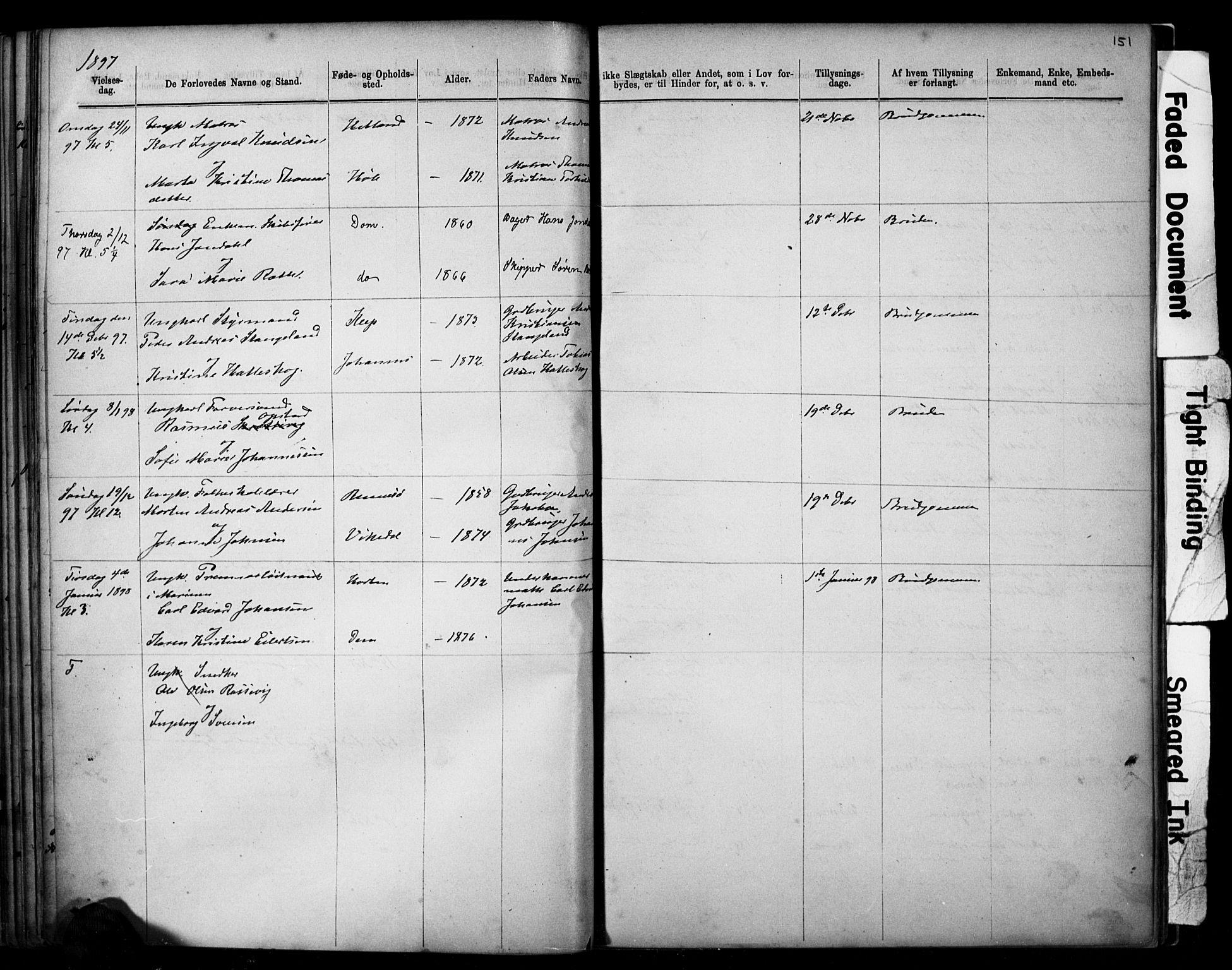 SAST, Domkirken sokneprestkontor, 30/30BB/L0014: Klokkerbok nr. B 14, 1875-1902, s. 151