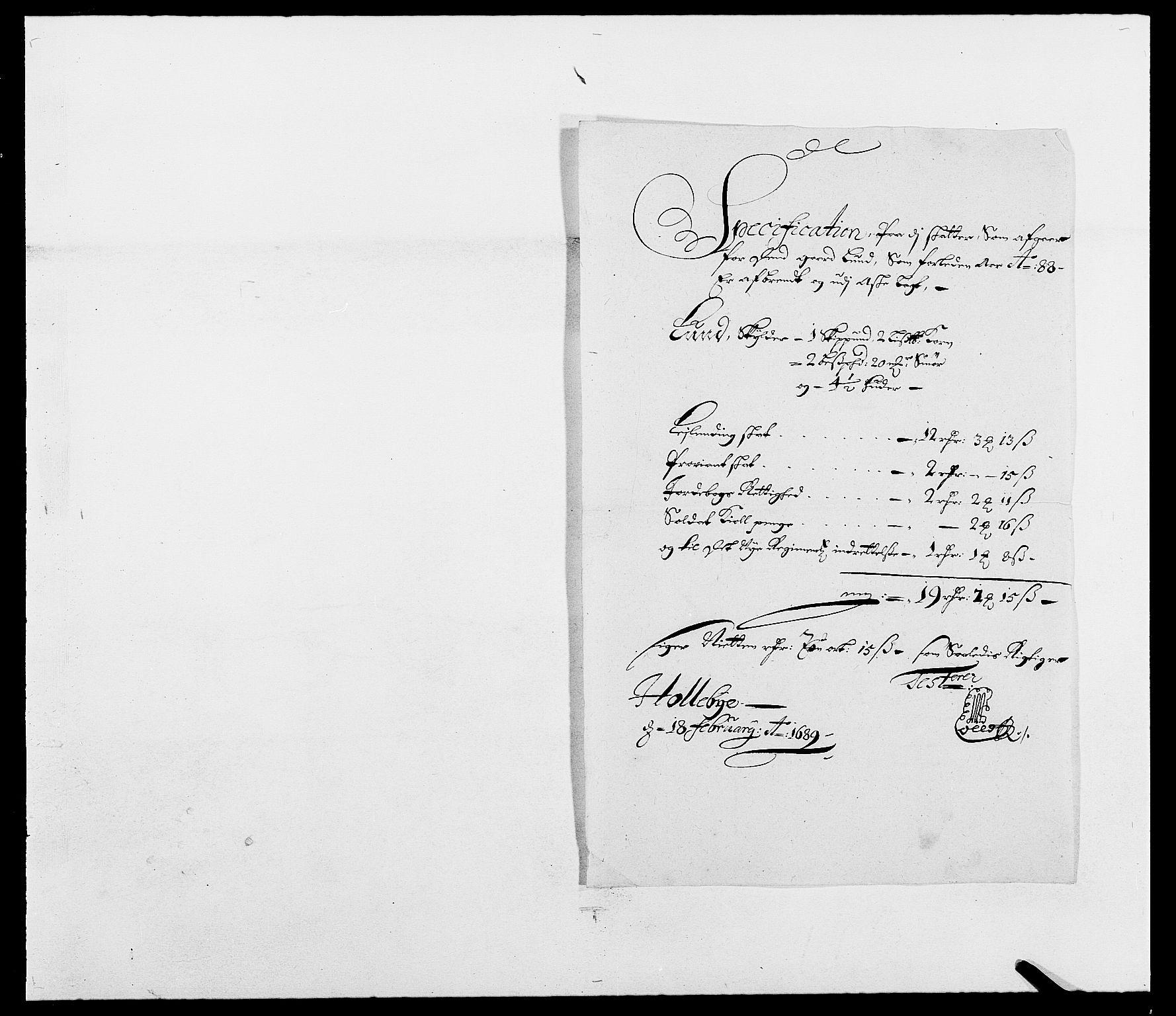 RA, Rentekammeret inntil 1814, Reviderte regnskaper, Fogderegnskap, R03/L0117: Fogderegnskap Onsøy, Tune, Veme og Åbygge fogderi, 1684-1689, s. 280