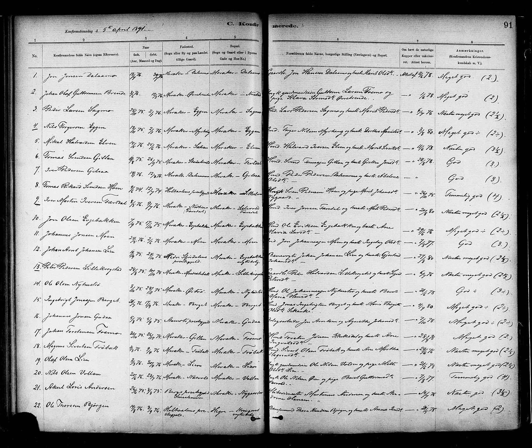 SAT, Ministerialprotokoller, klokkerbøker og fødselsregistre - Nord-Trøndelag, 706/L0047: Ministerialbok nr. 706A03, 1878-1892, s. 91