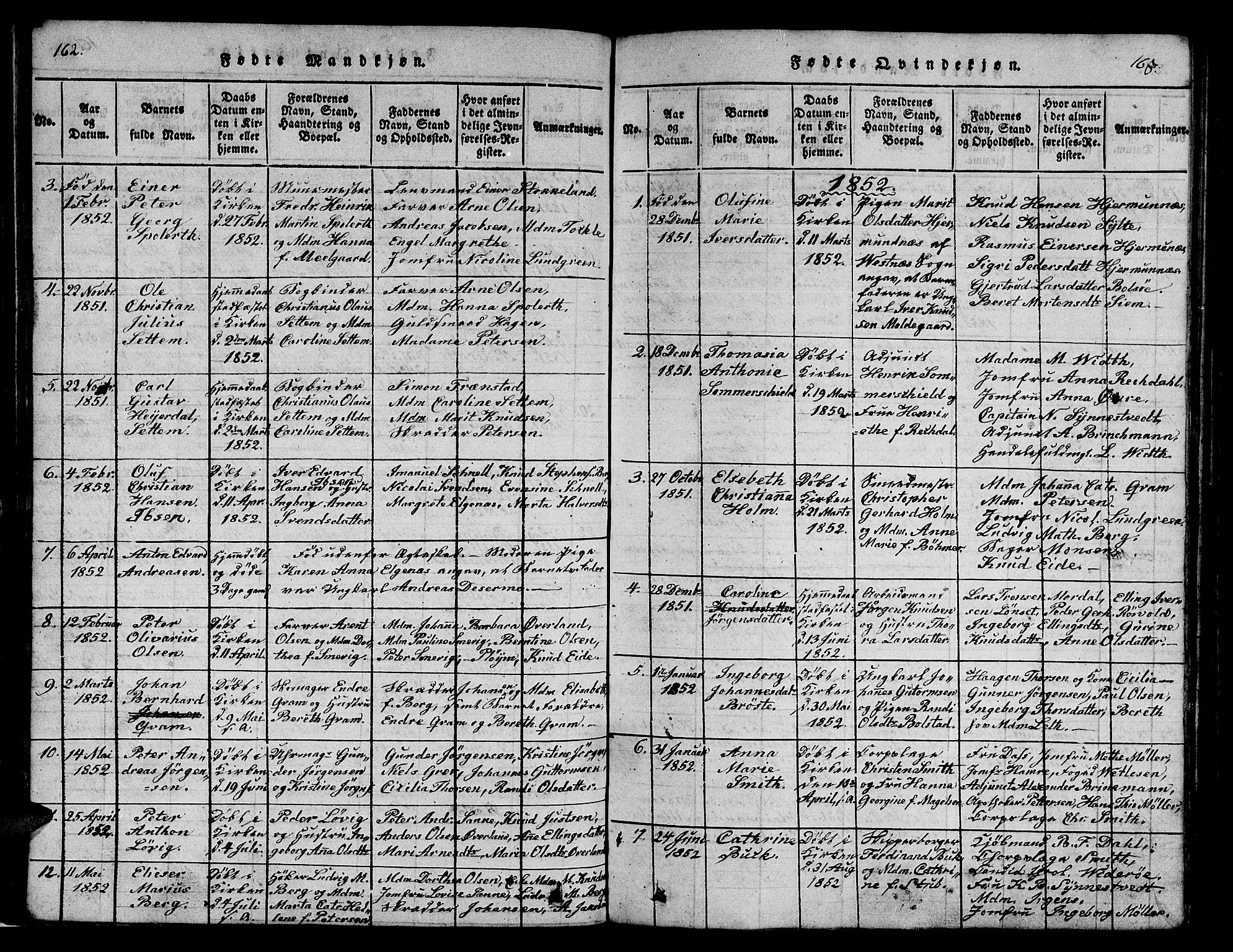 SAT, Ministerialprotokoller, klokkerbøker og fødselsregistre - Møre og Romsdal, 558/L0700: Klokkerbok nr. 558C01, 1818-1868, s. 162-163