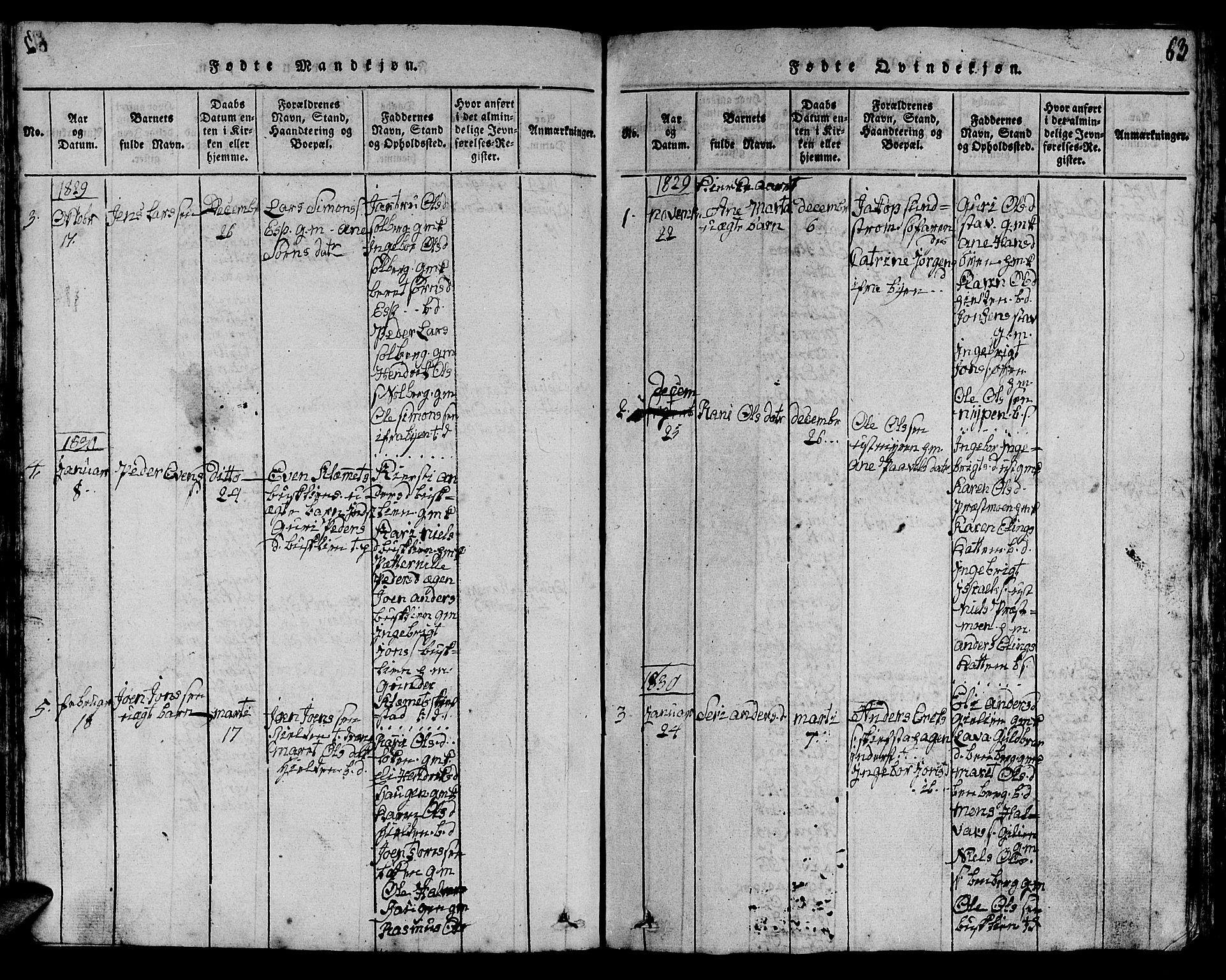 SAT, Ministerialprotokoller, klokkerbøker og fødselsregistre - Sør-Trøndelag, 613/L0393: Klokkerbok nr. 613C01, 1816-1886, s. 63