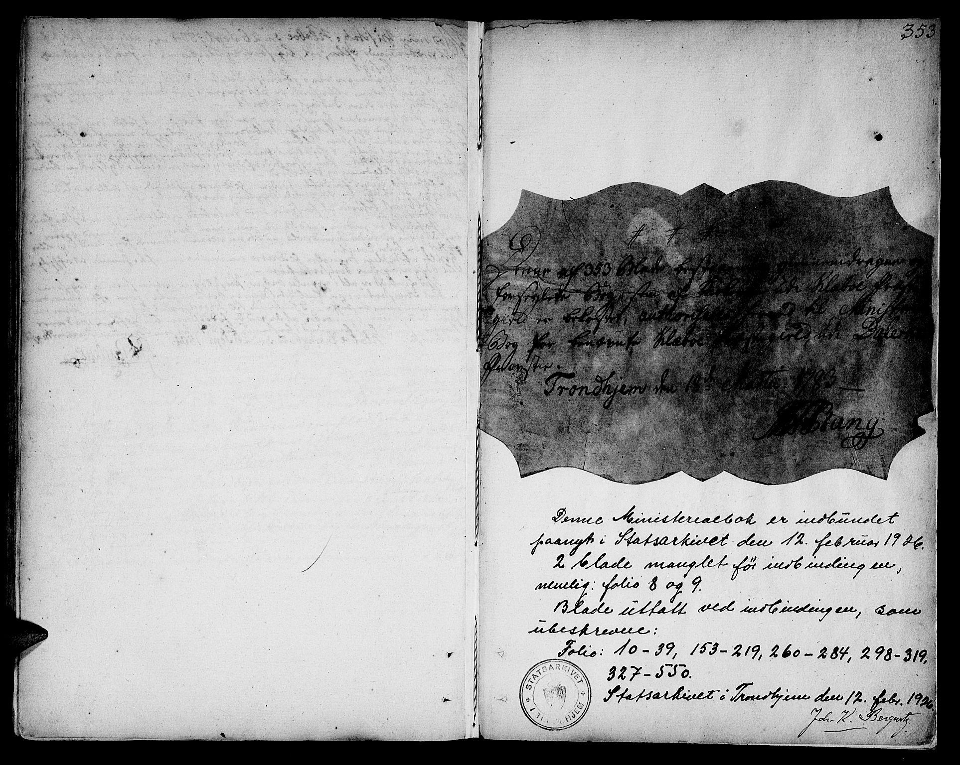 SAT, Ministerialprotokoller, klokkerbøker og fødselsregistre - Sør-Trøndelag, 618/L0438: Ministerialbok nr. 618A03, 1783-1815, s. 353