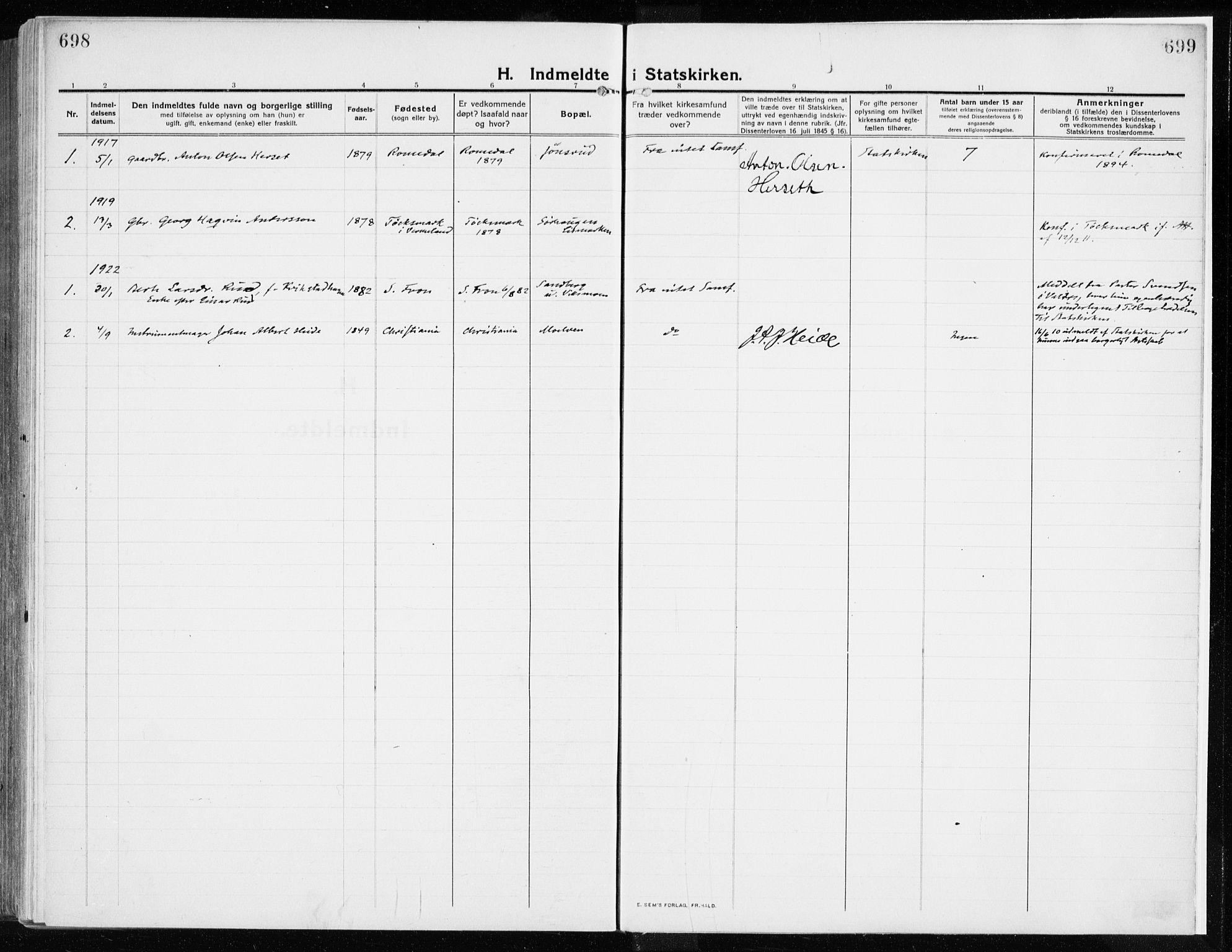 SAH, Ringsaker prestekontor, K/Ka/L0020: Ministerialbok nr. 20, 1913-1922, s. 698-699