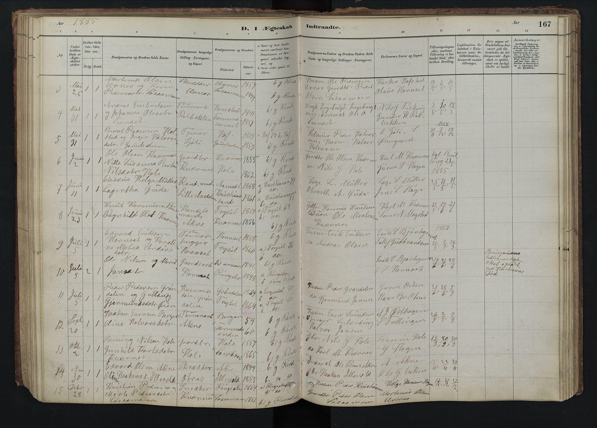 SAH, Rendalen prestekontor, H/Ha/Hab/L0009: Klokkerbok nr. 9, 1879-1902, s. 167