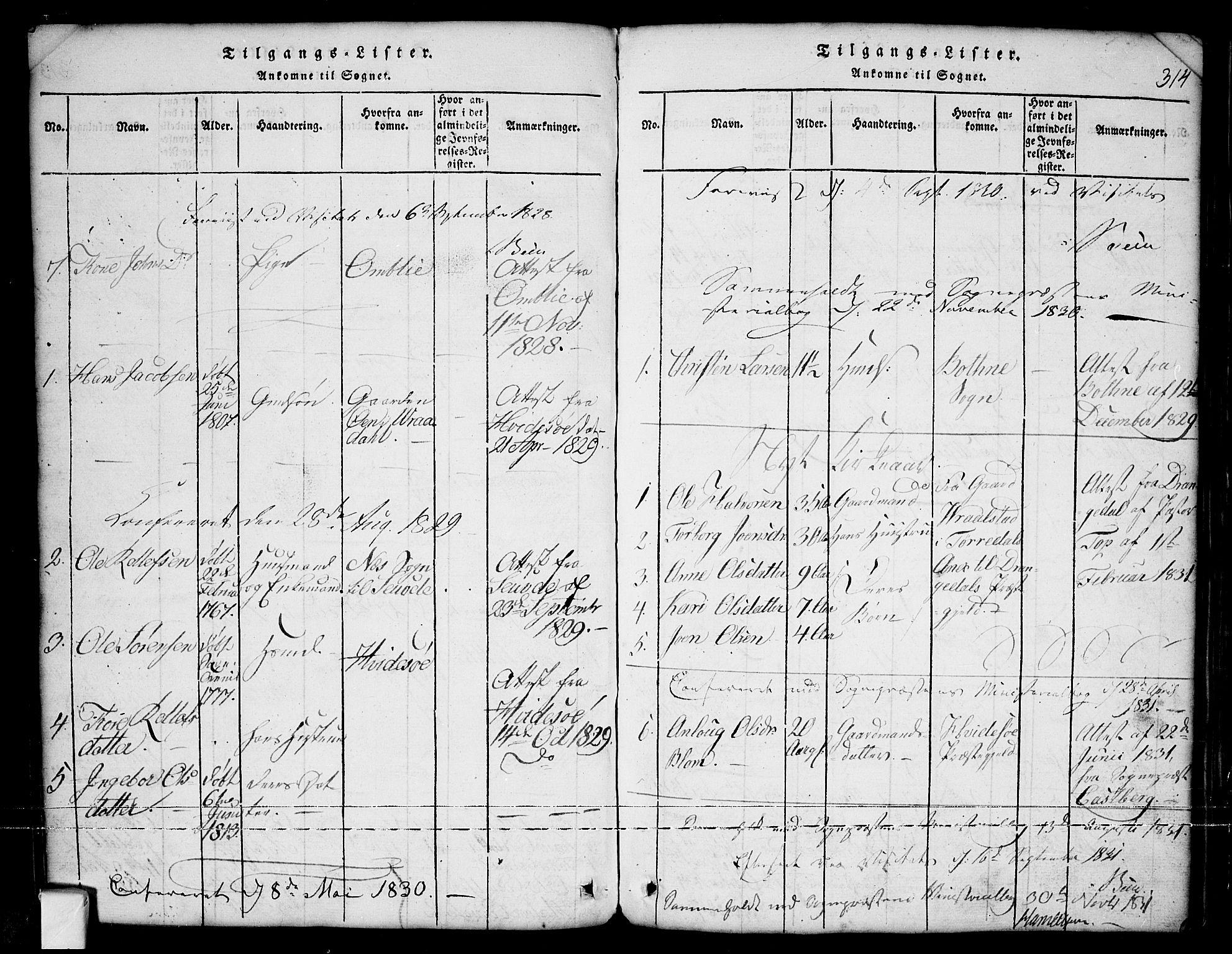 SAKO, Nissedal kirkebøker, G/Ga/L0001: Klokkerbok nr. I 1, 1814-1860, s. 314
