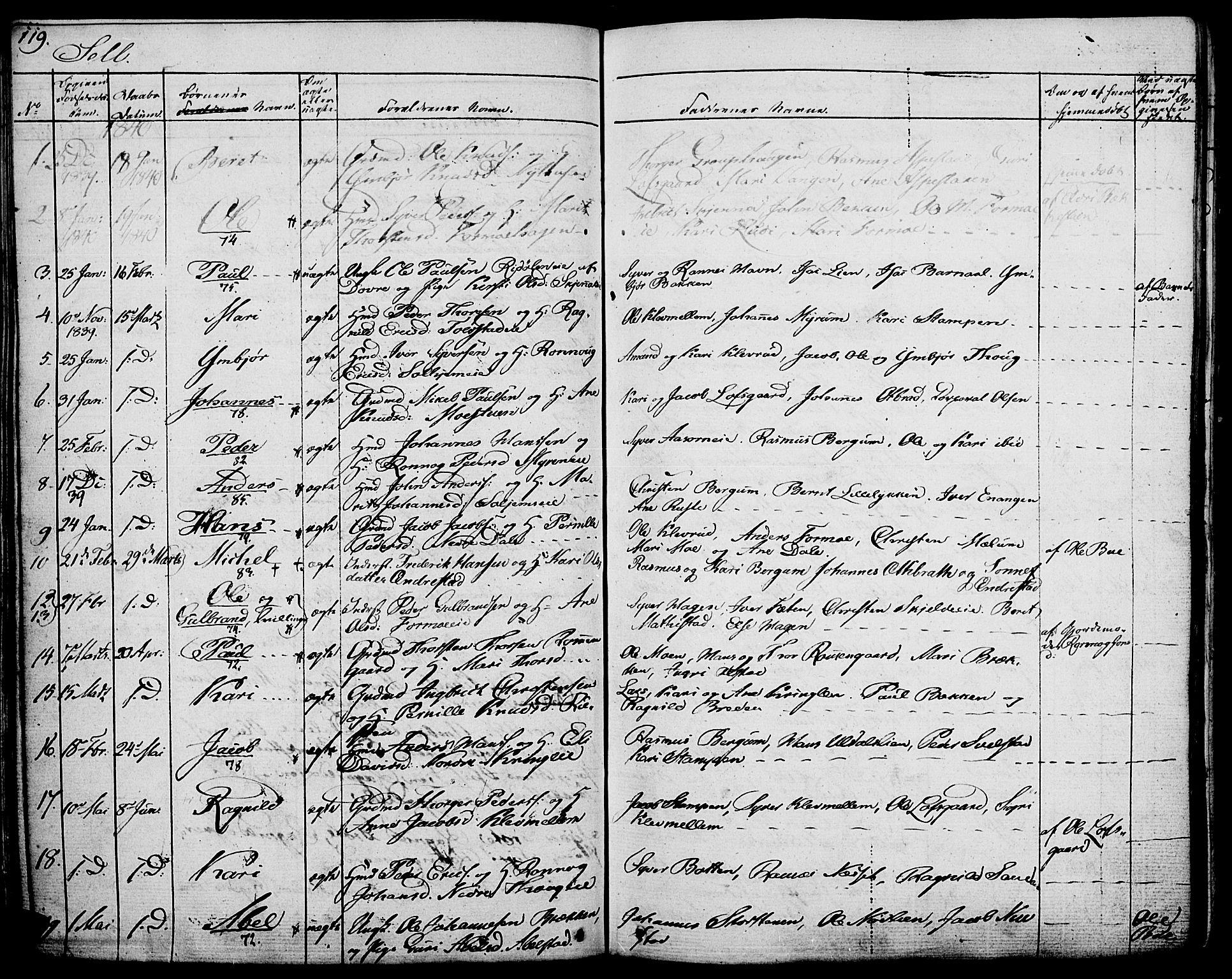 SAH, Vågå prestekontor, Ministerialbok nr. 4 /3, 1834-1842, s. 119