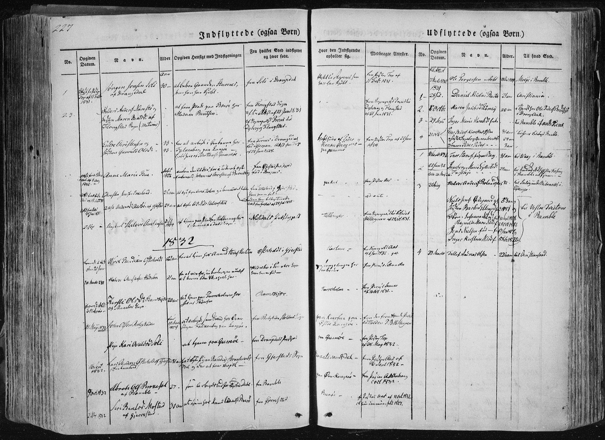 SAKO, Sannidal kirkebøker, F/Fa/L0007: Ministerialbok nr. 7, 1831-1854, s. 227