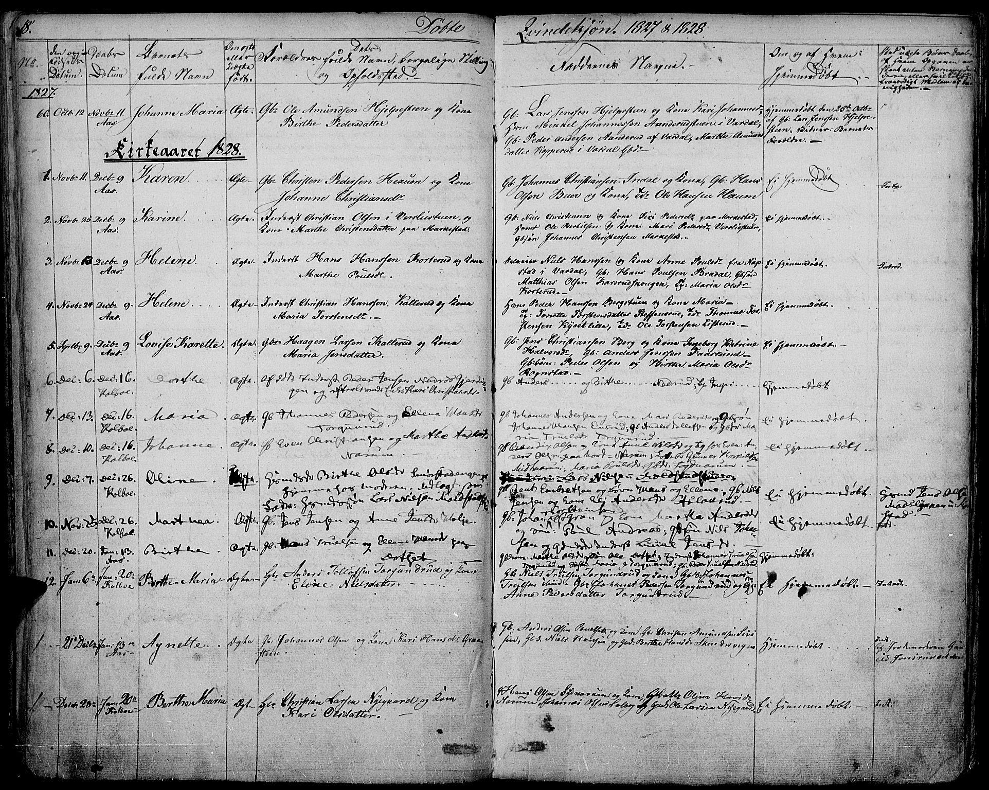 SAH, Vestre Toten prestekontor, Ministerialbok nr. 2, 1825-1837, s. 18