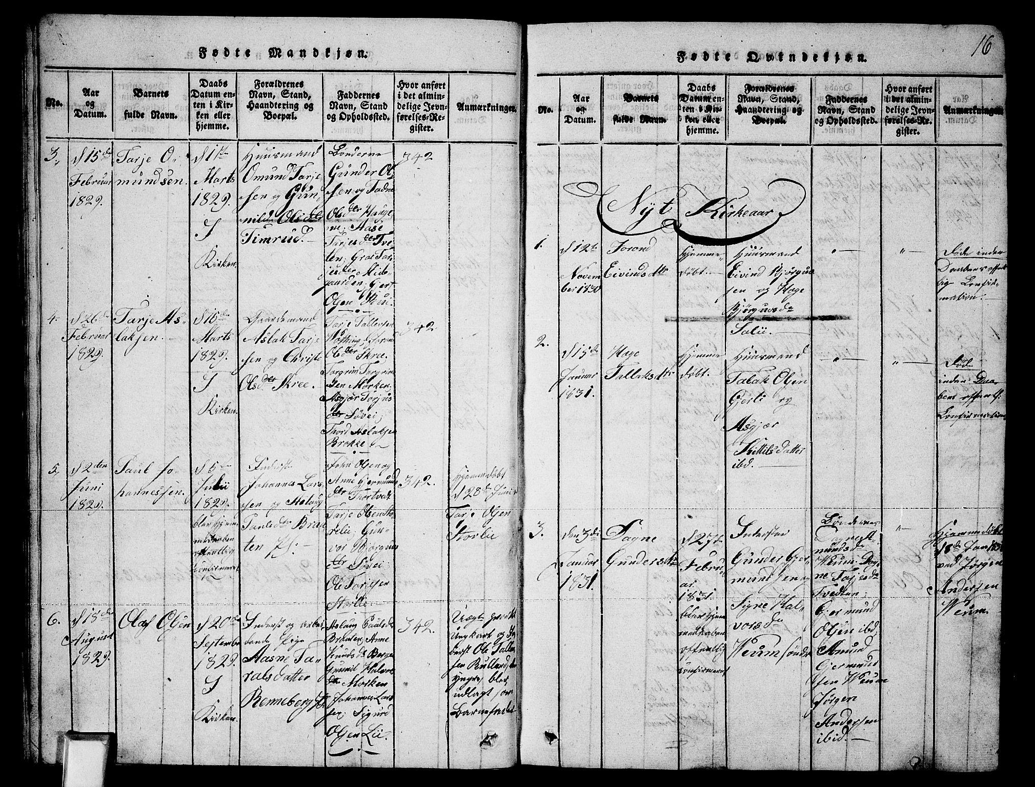 SAKO, Fyresdal kirkebøker, G/Ga/L0003: Klokkerbok nr. I 3, 1815-1863, s. 16