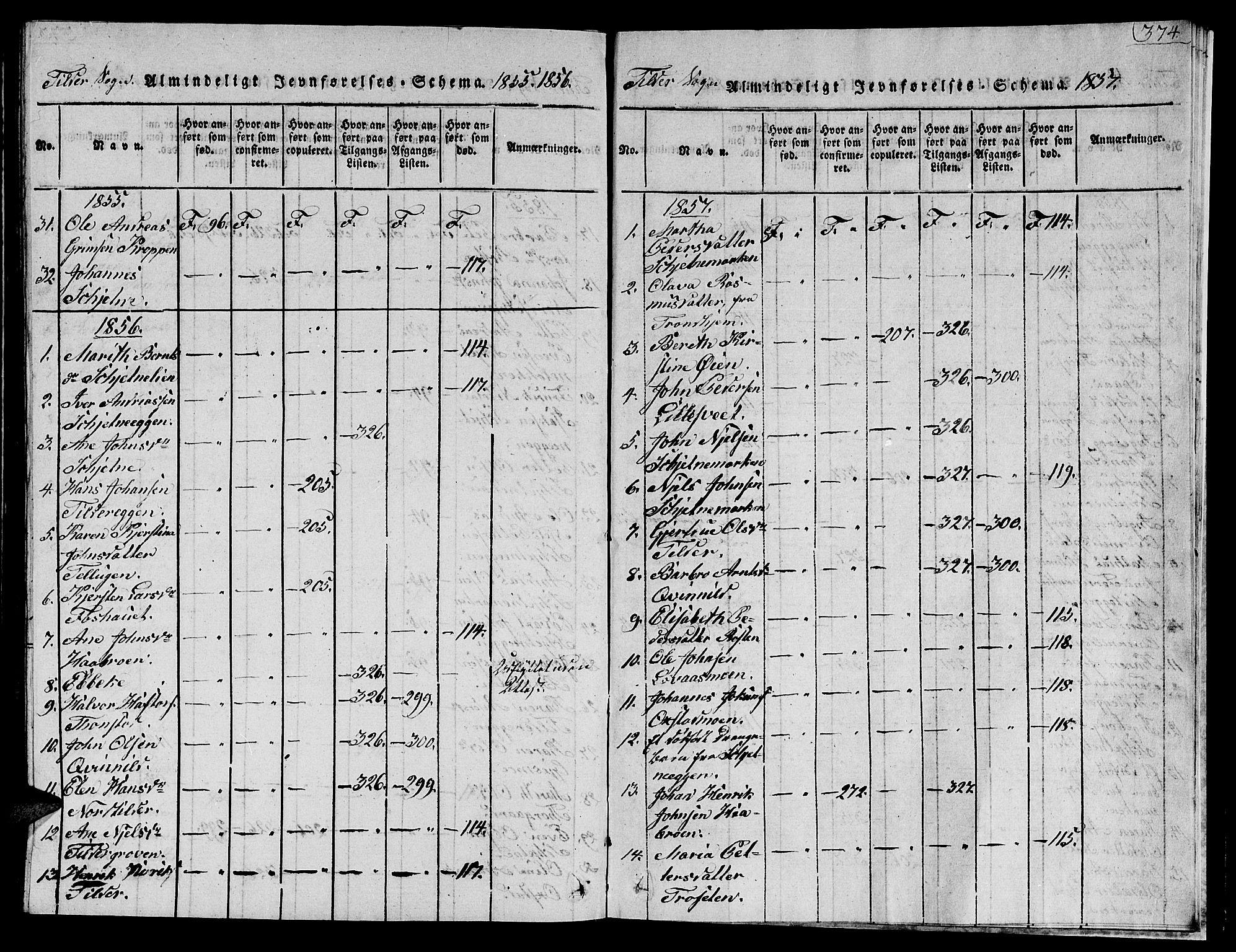 SAT, Ministerialprotokoller, klokkerbøker og fødselsregistre - Sør-Trøndelag, 621/L0458: Klokkerbok nr. 621C01, 1816-1865, s. 374