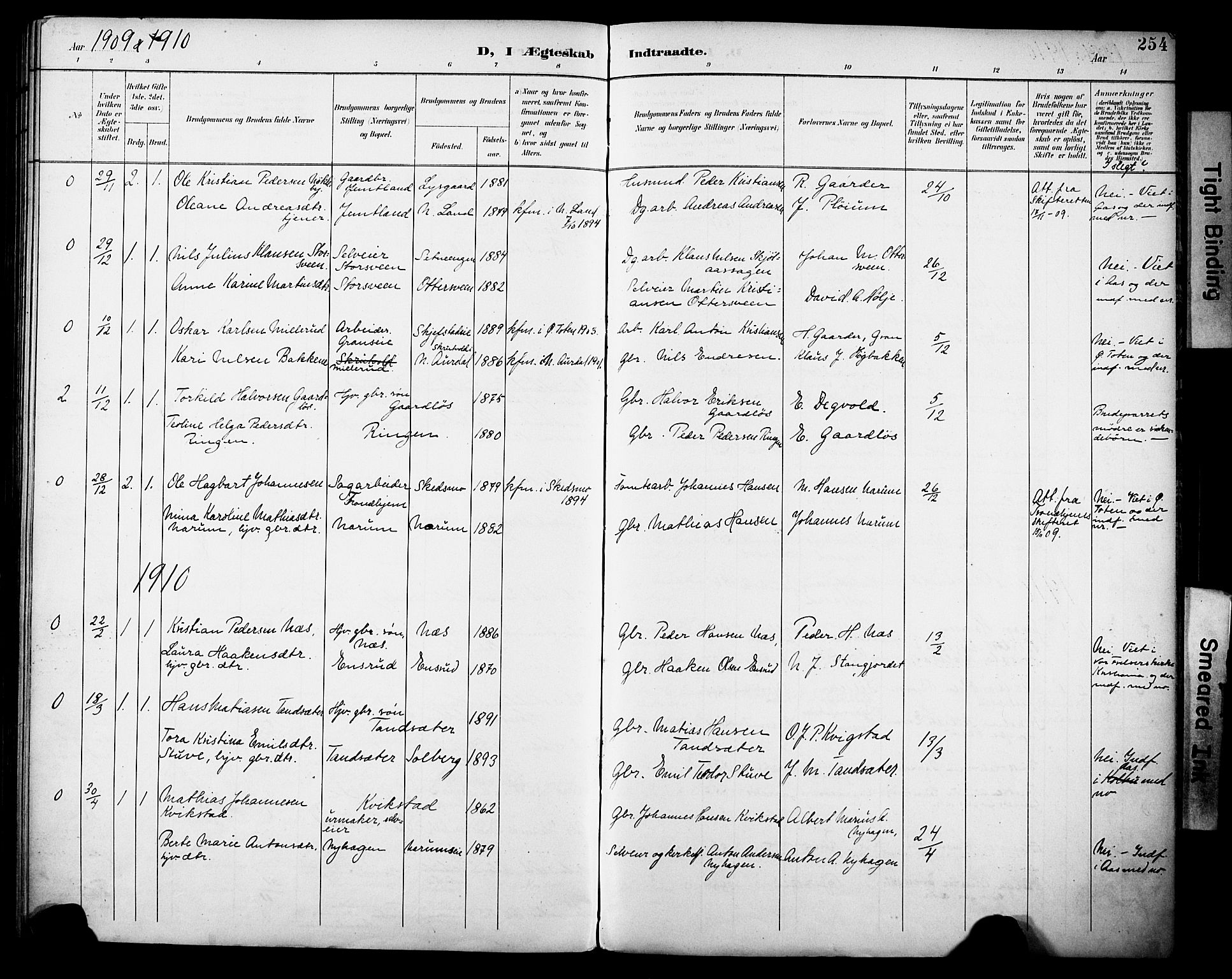 SAH, Vestre Toten prestekontor, H/Ha/Haa/L0013: Ministerialbok nr. 13, 1895-1911, s. 254