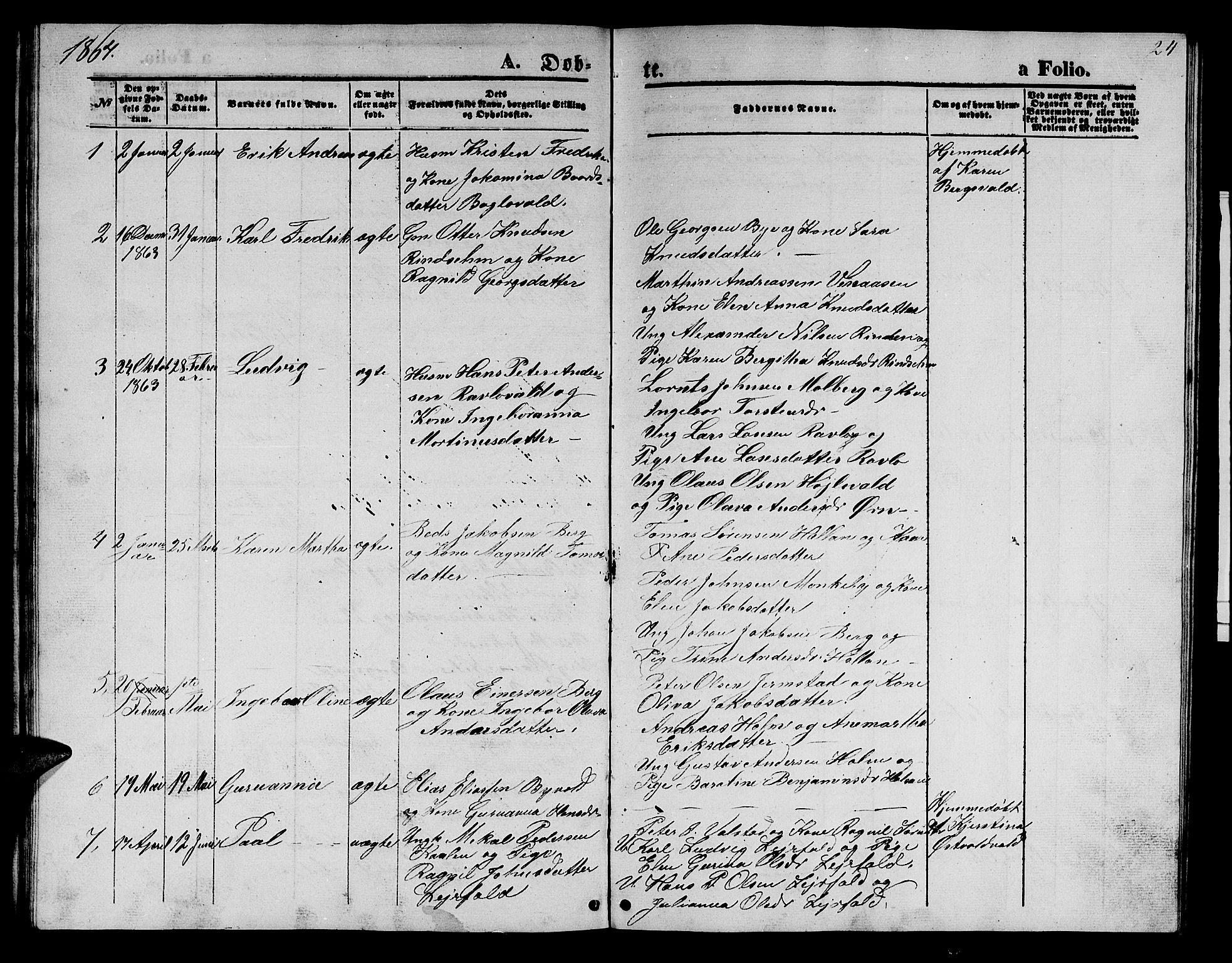 SAT, Ministerialprotokoller, klokkerbøker og fødselsregistre - Nord-Trøndelag, 726/L0270: Klokkerbok nr. 726C01, 1858-1868, s. 24