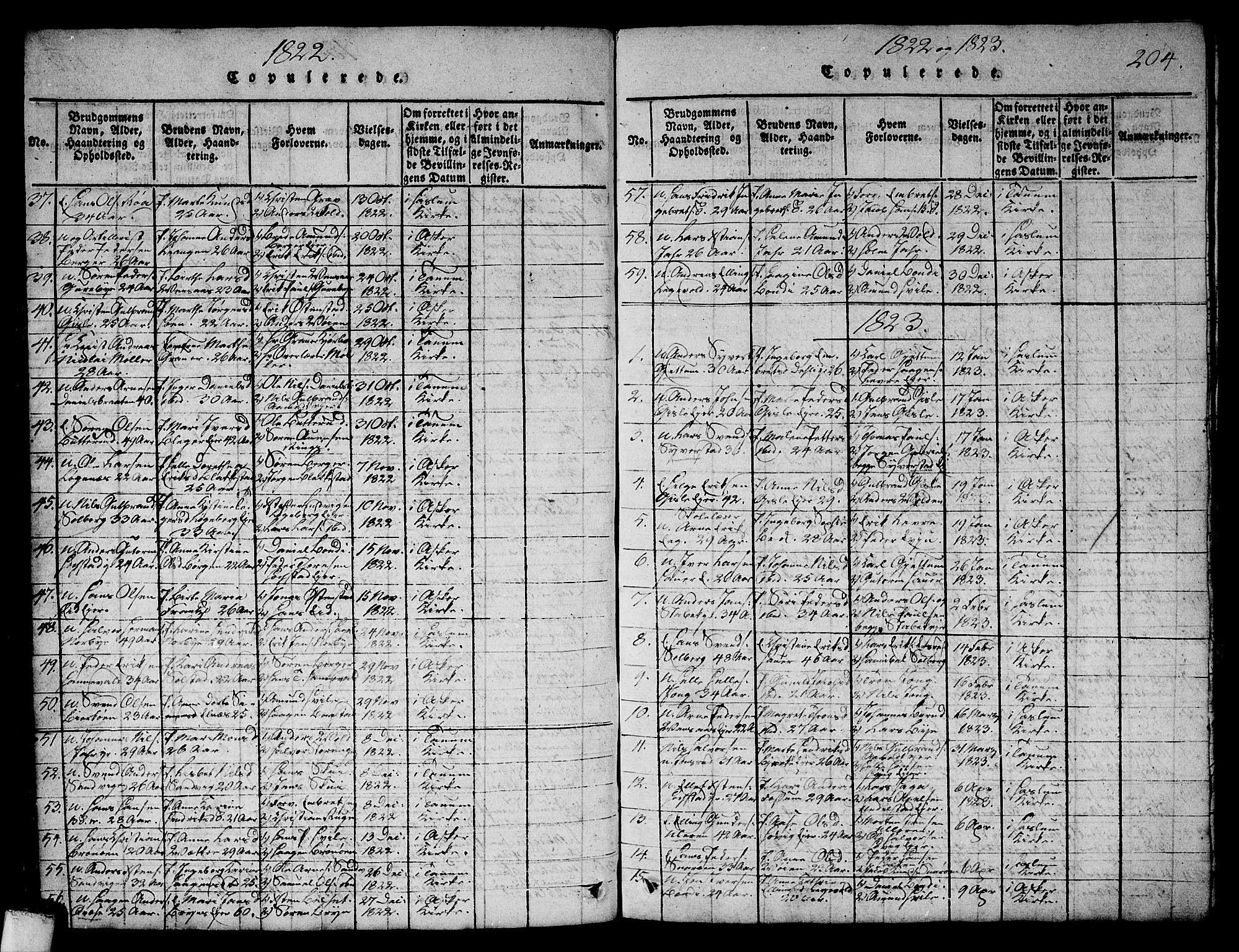 SAO, Asker prestekontor Kirkebøker, G/Ga/L0001: Klokkerbok nr. I 1, 1814-1830, s. 204